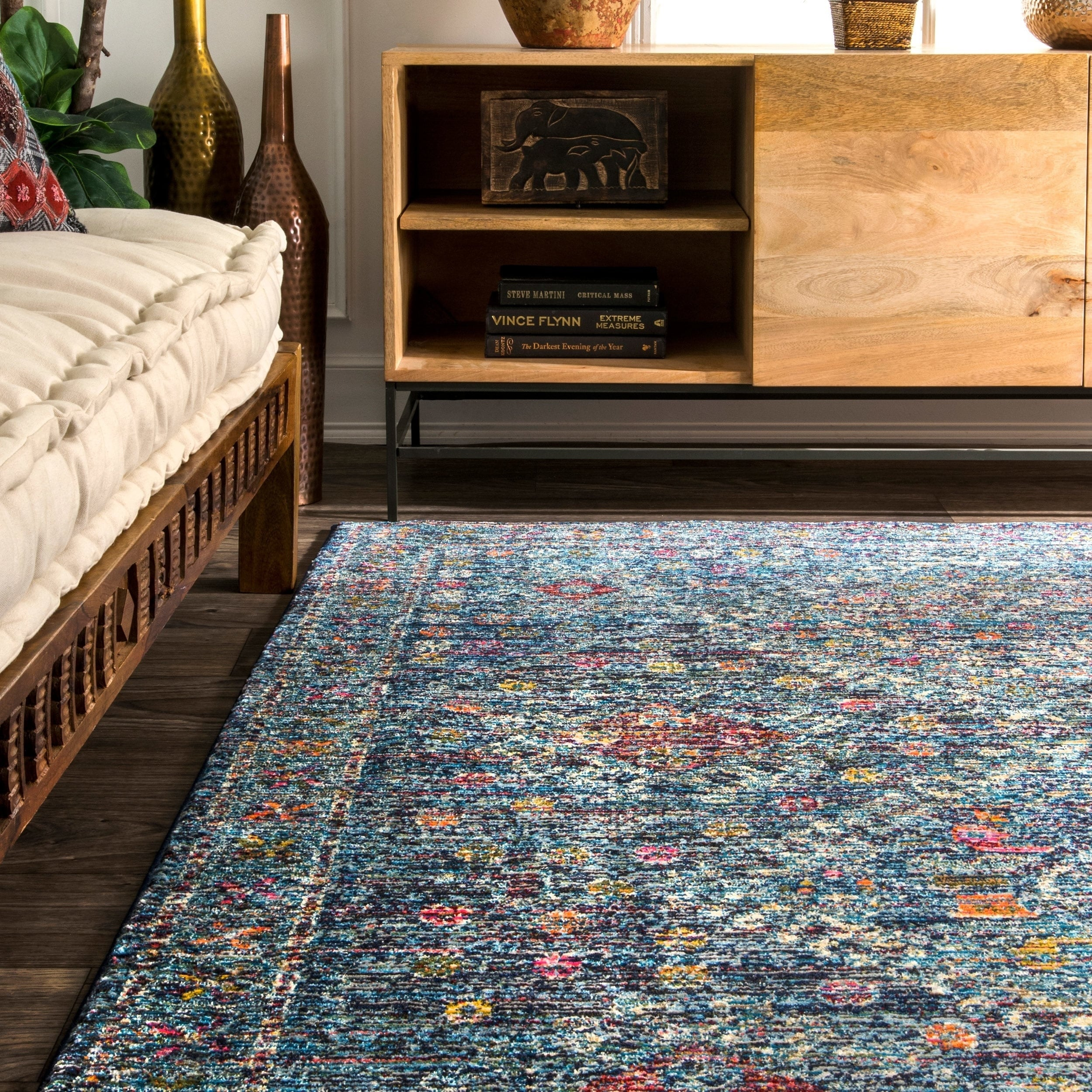 Nuloom Blue Transitional Tribal Stylish Faded Border Area Rug 8 X 10 Ships To Canada Ca 21642333
