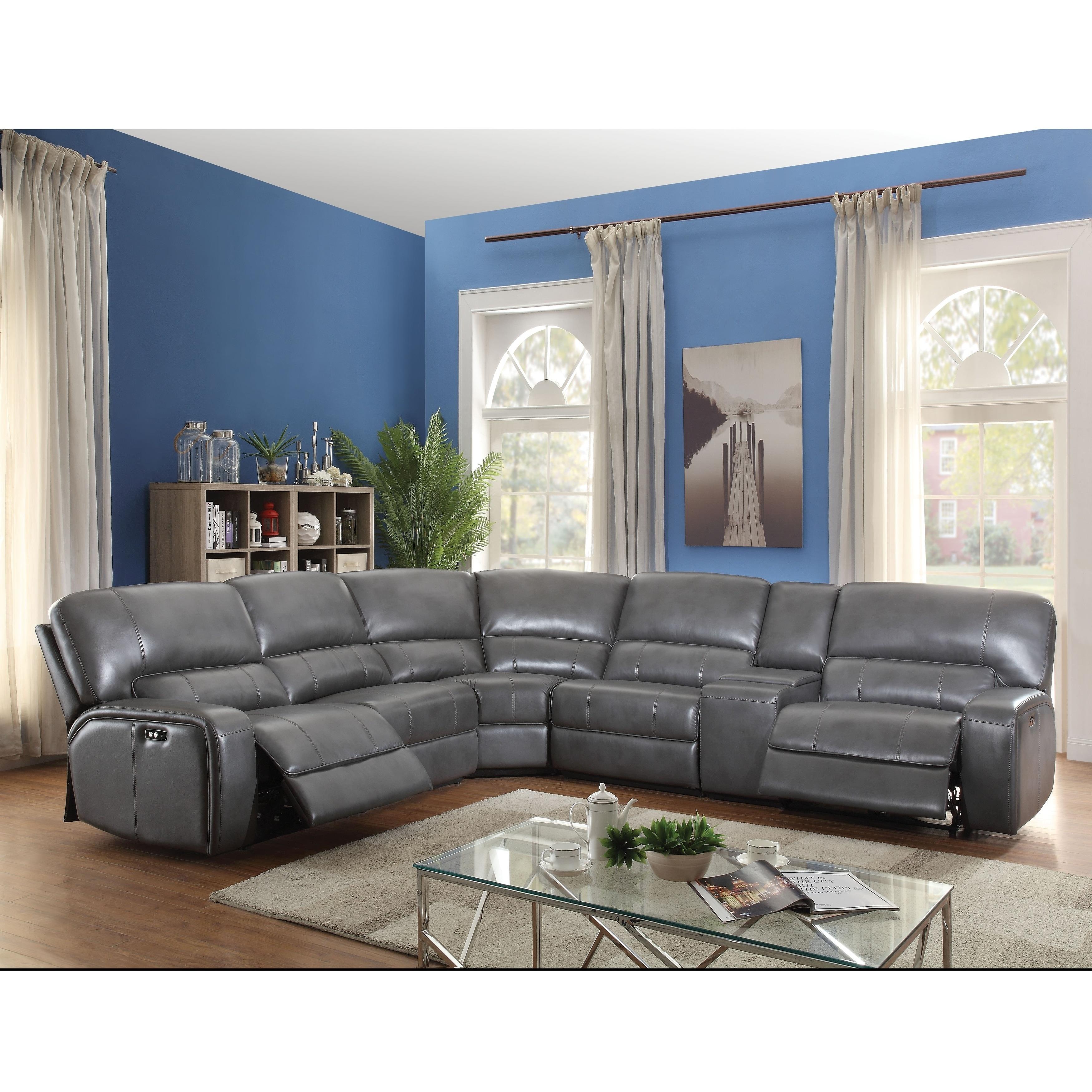 shop acme saul sectional sofa power motion usb dock gray leather rh overstock com acme furniture hilton's sectional sofa with sleeper acme saul sectional sofa