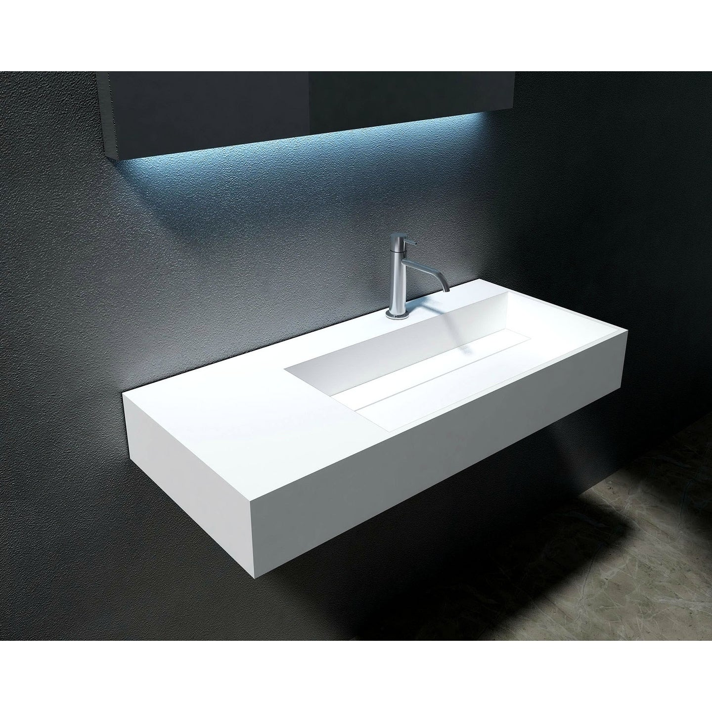 Juniper 36 Solid Surface Wall Mounted Sink Right Basin