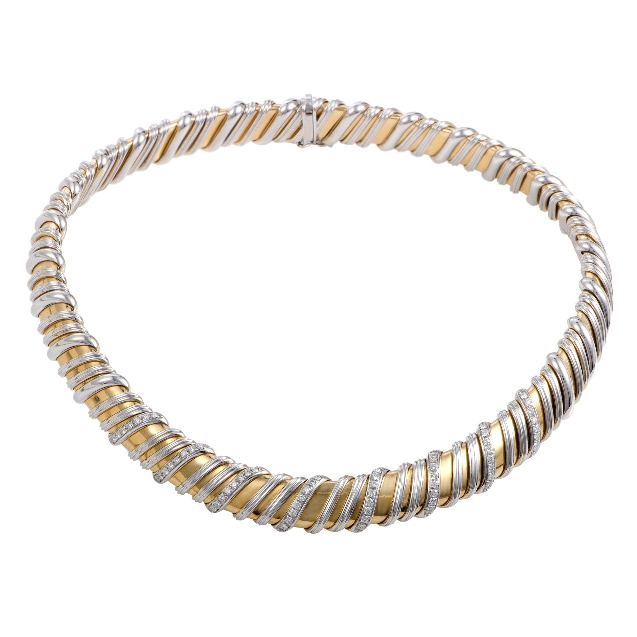 39d70e1a62e5 Shop Roberto Coin Nabucco White and Yellow Gold Diamond Choker ...