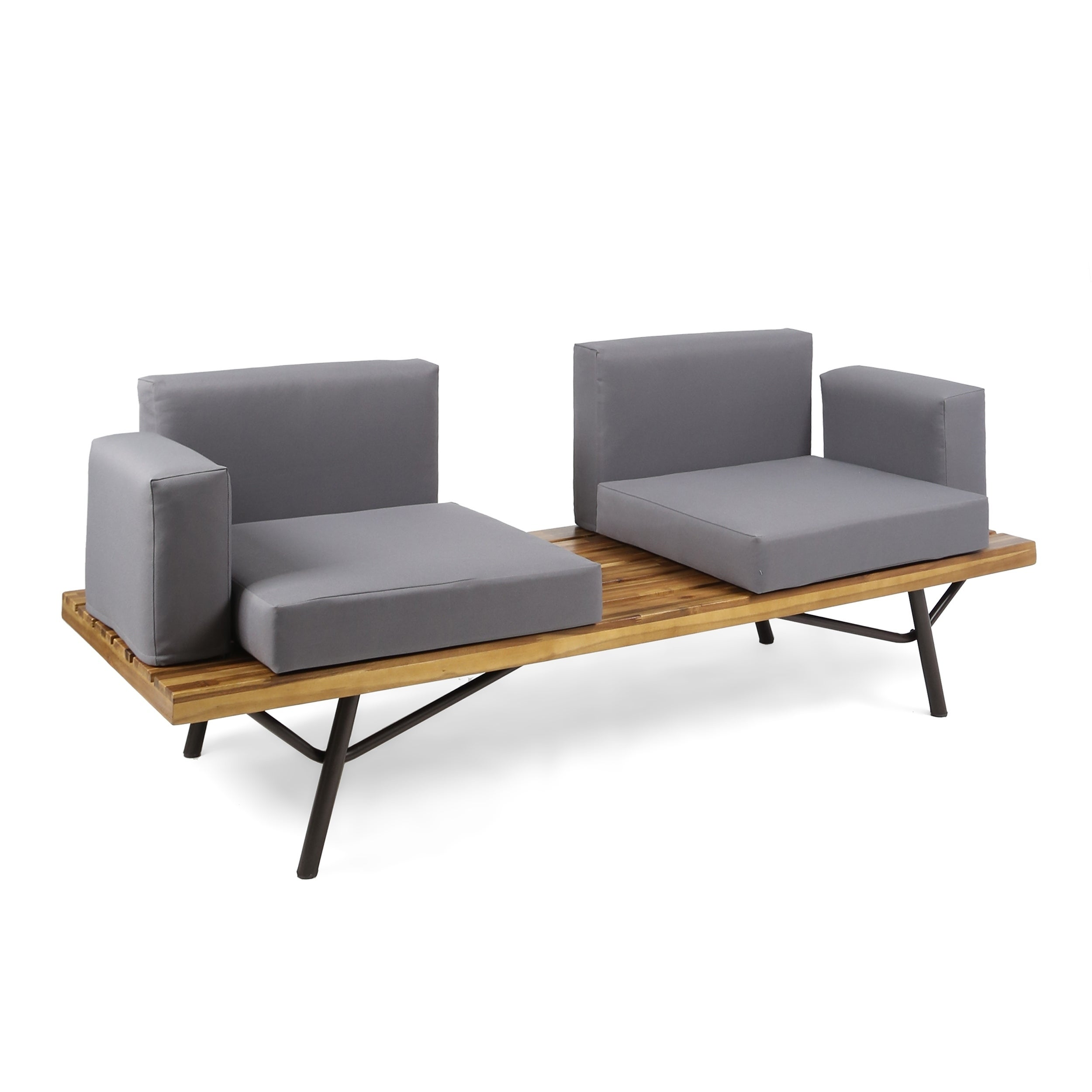 Shop Canoga Outdoor Industrial 2 Seater Sofa by Christopher Knight ...