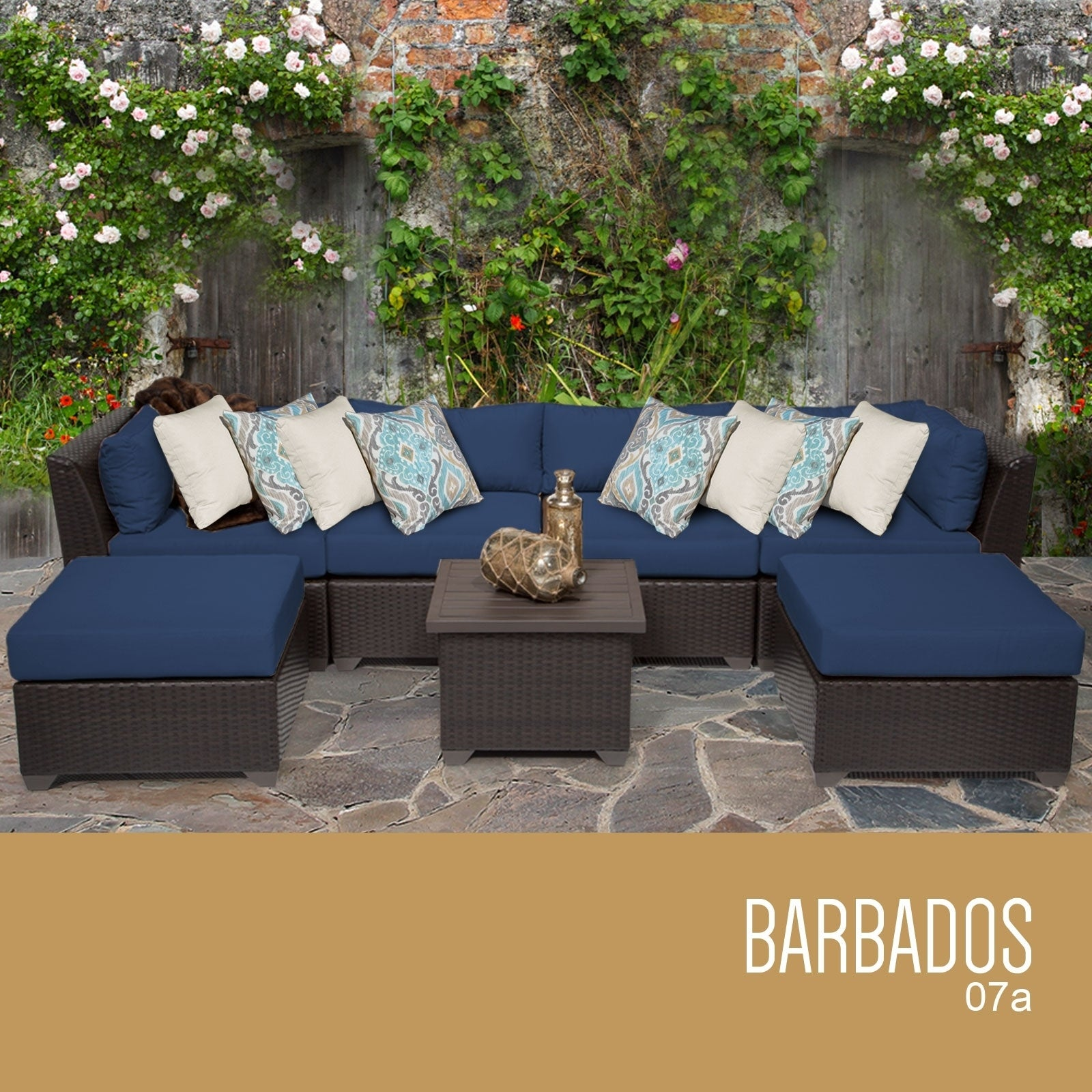 shop barbados 7 piece outdoor wicker patio furniture set 07a free rh overstock com