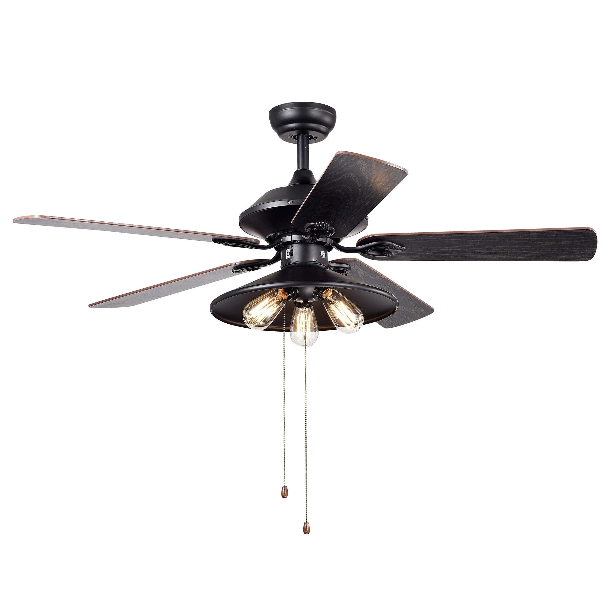 Upille 3 Light Metal 5 Blade 52 Inch Matte Black Ceiling Fan Includes Edison Bulbs On Free Shipping Today 21723973