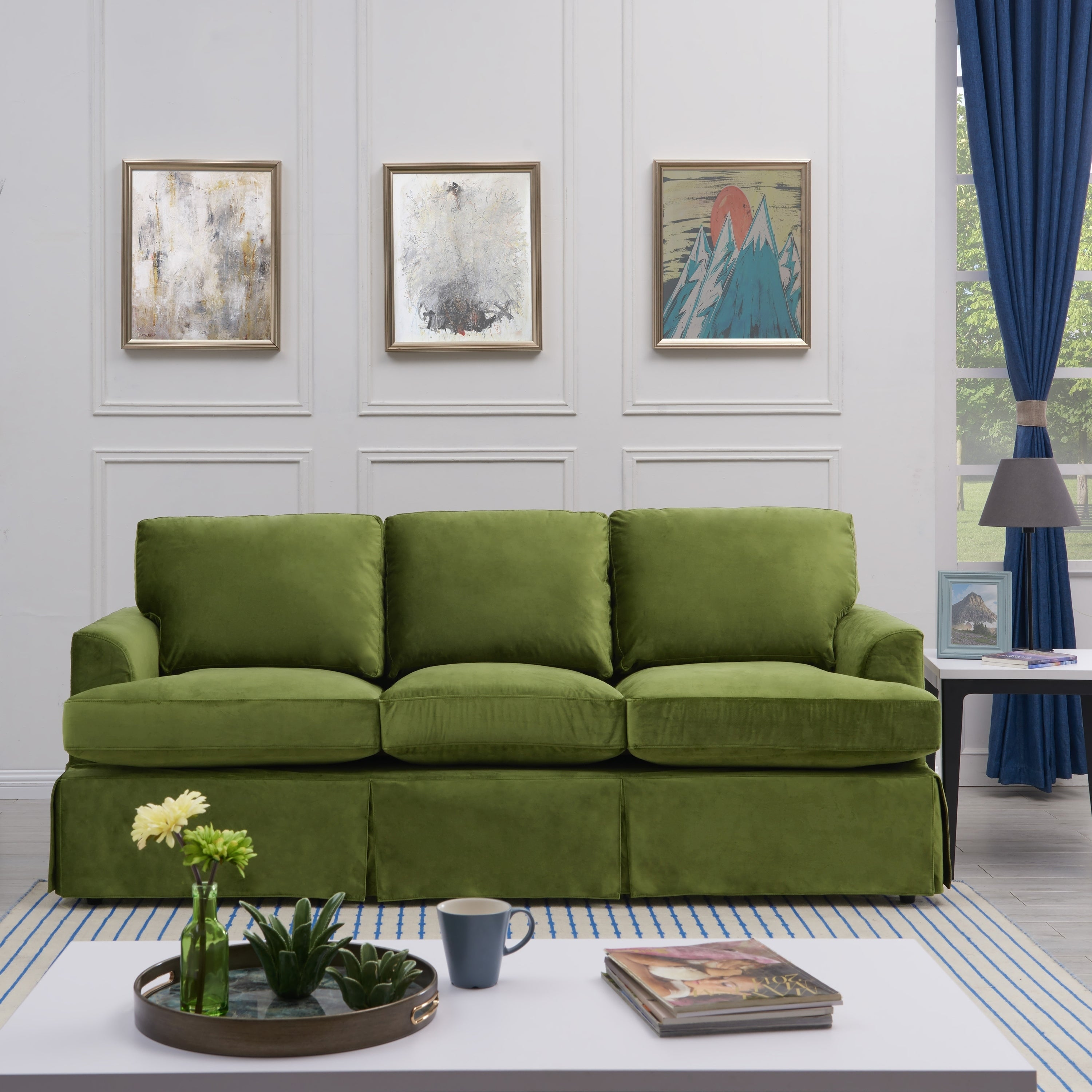Handy Living Orlando Sofast Kale Green Velvet Slipcover Sofa With Skirt On Free Shipping Today 21727686