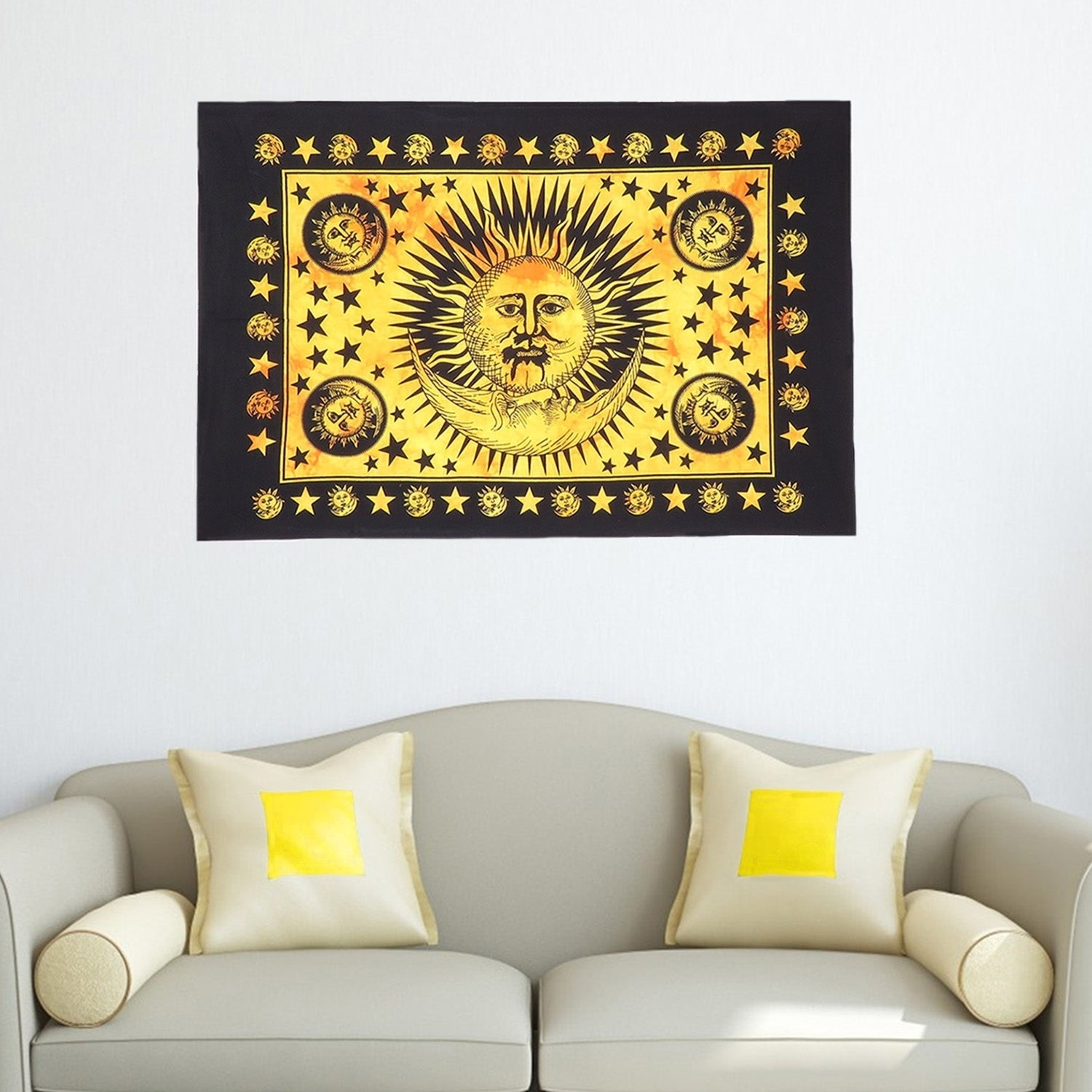 Shop Sun Moon Printed Multi-Color Cotton Poster Tapestries Wall ...