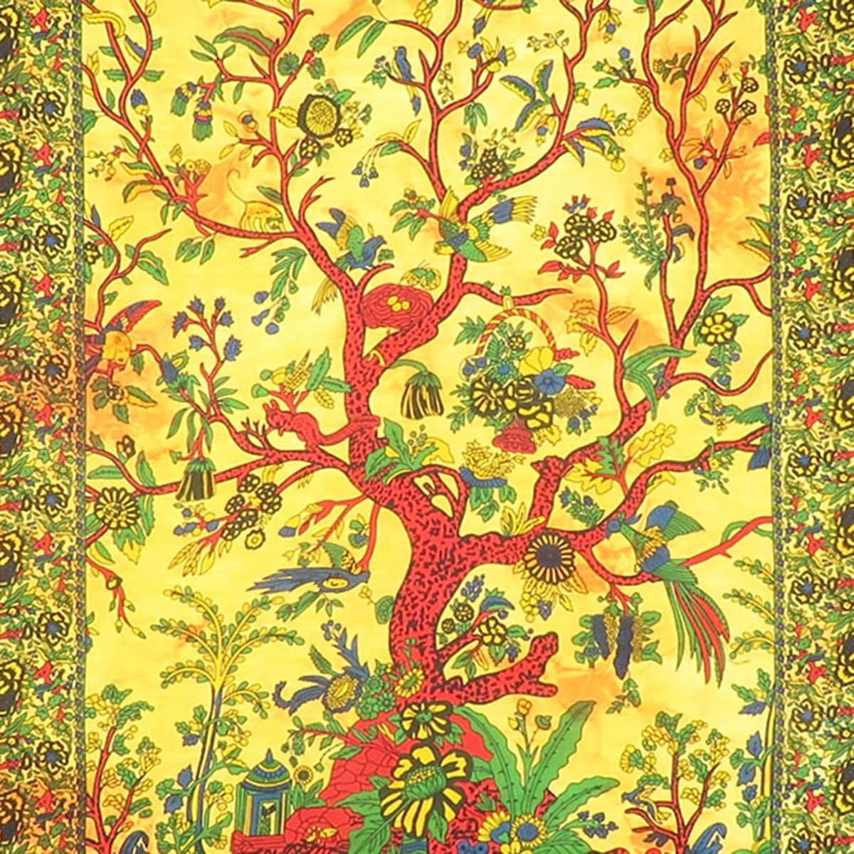 Shop Multi-Color Tree Of Life Printed Cotton Wall Hanging Poster ...