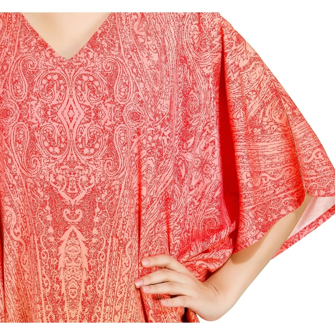 9379ceac72c Shop Red Tunic Top Abstract Kaftan Plus Size Caftan Maxi Coverup Summer  Long Casual Party Dress Women - Free Shipping Today - Overstock - 21731677