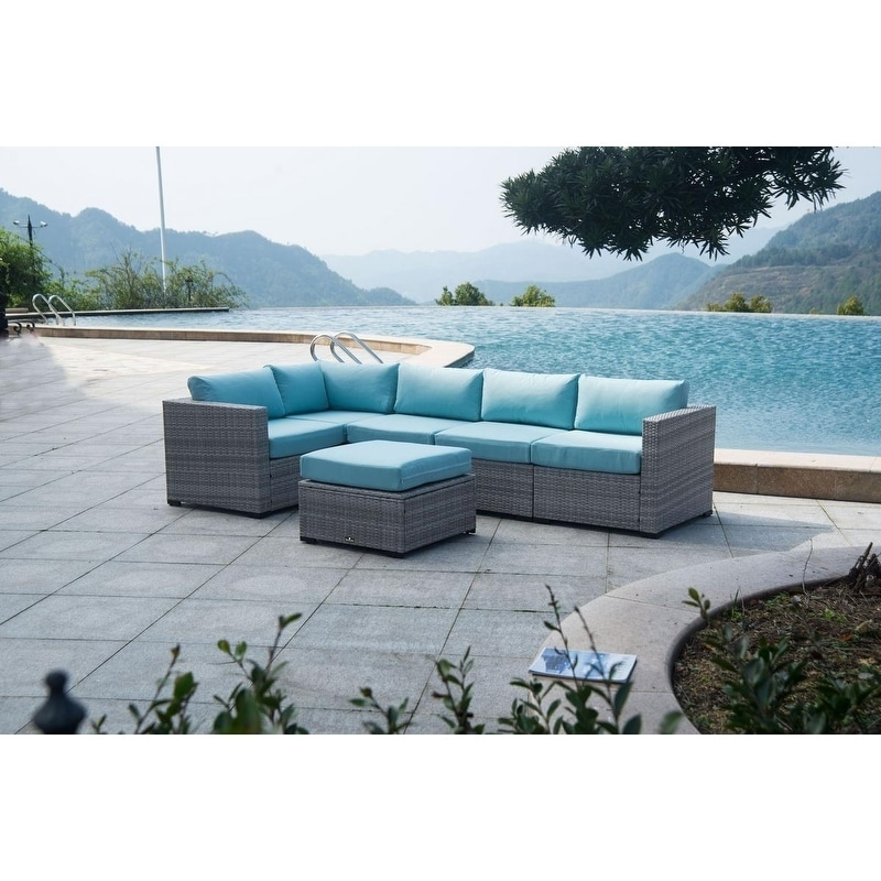 Shop BroyerK 6-piece Outdoor Rattan Patio Sectional garden Furniture Set -  Free Shipping Today - Overstock.com - 21733105 - Shop BroyerK 6-piece Outdoor Rattan Patio Sectional Garden Furniture