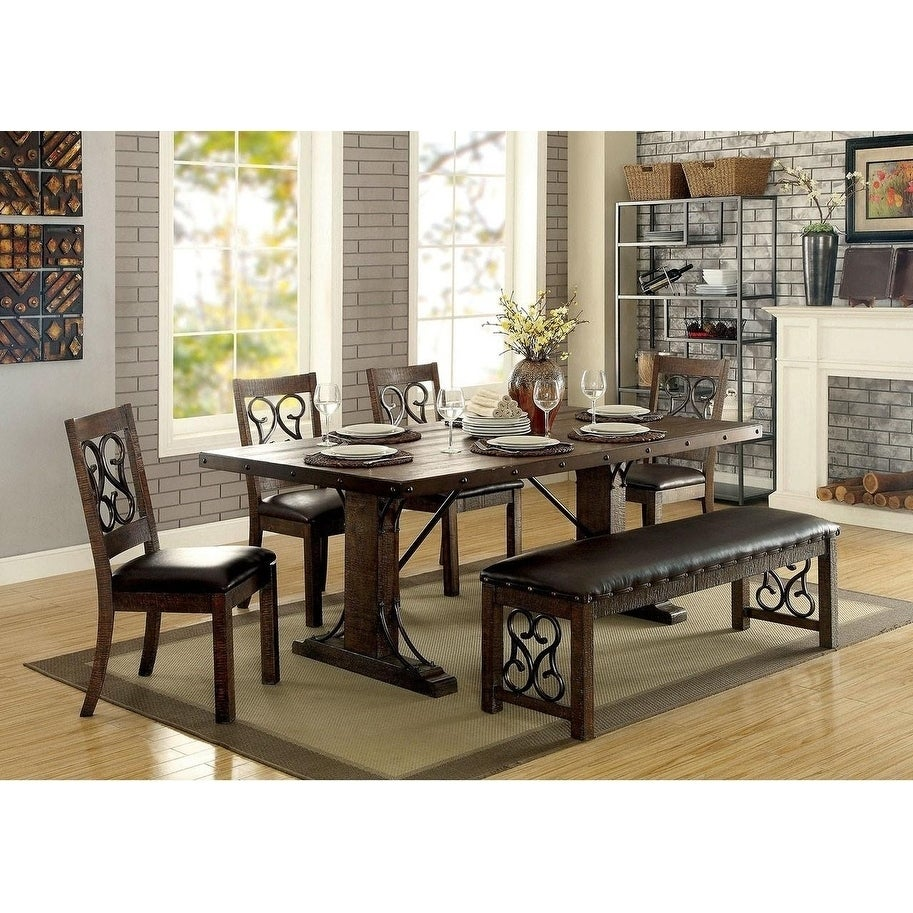 Shop traditional dining table rustic walnut brown on sale free shipping today overstock com 21752914