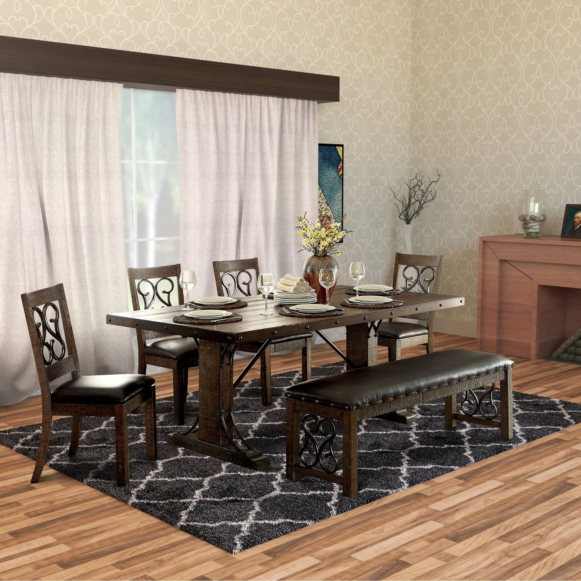 51426270805c Shop Wooden Dining Table with Double Pedestal Base and Rivet Details ...