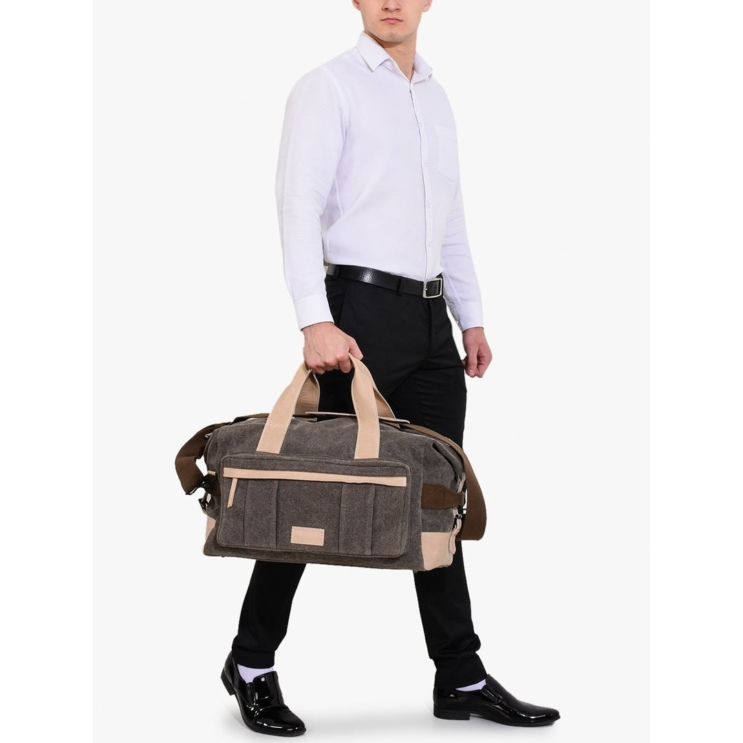 42a3d6f41ac Shop Handmade Phive Rivers Men s Leather and Canvas Light Green Duffle Bags  (Italy) - On Sale - Free Shipping Today - Overstock.com - 21754146