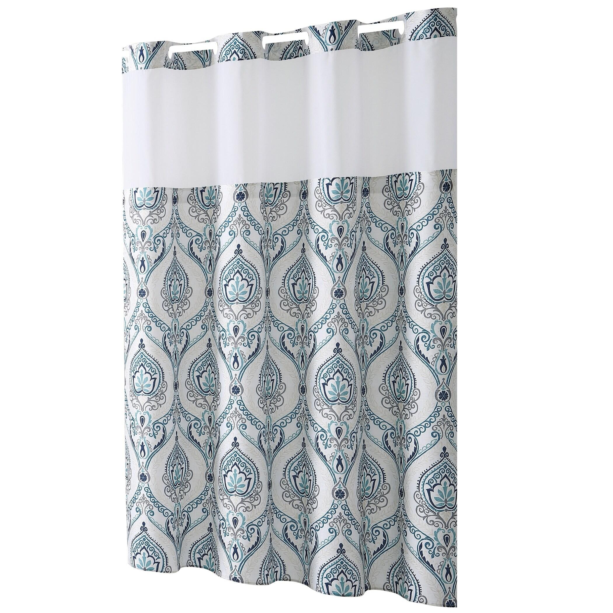Shop HooklessR Shower Curtain French Damask Print Aqua