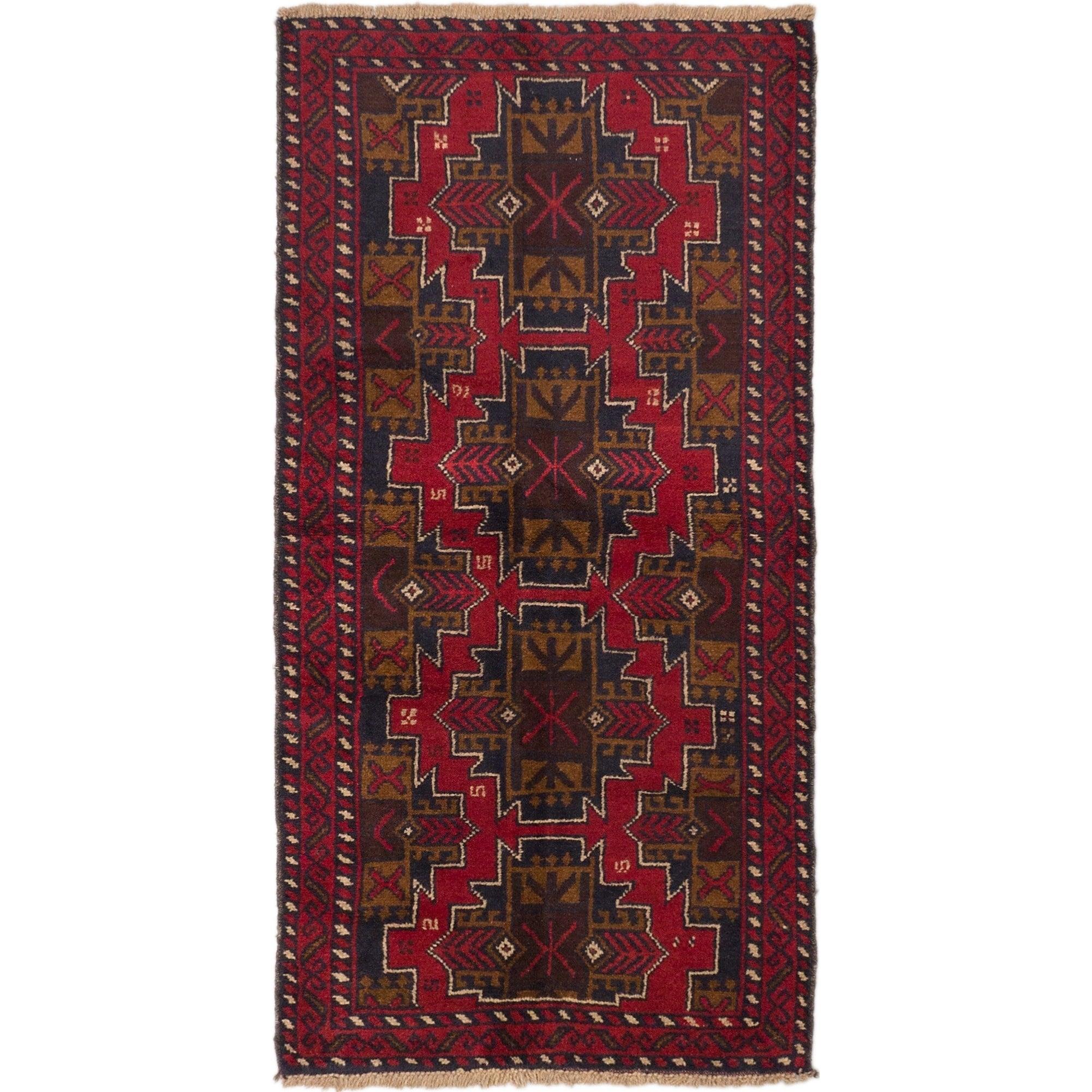 Ecarpetgallery Bahor Blue, Red Wool Rug (34 X 68)