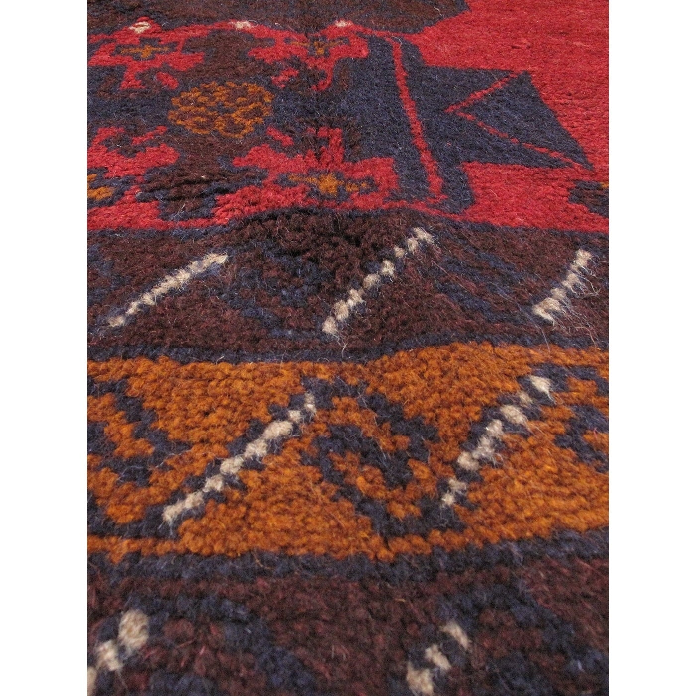 Ecarpetgallery Hand Knotted Baluch Deep Red Wool Rug (36 X 62)