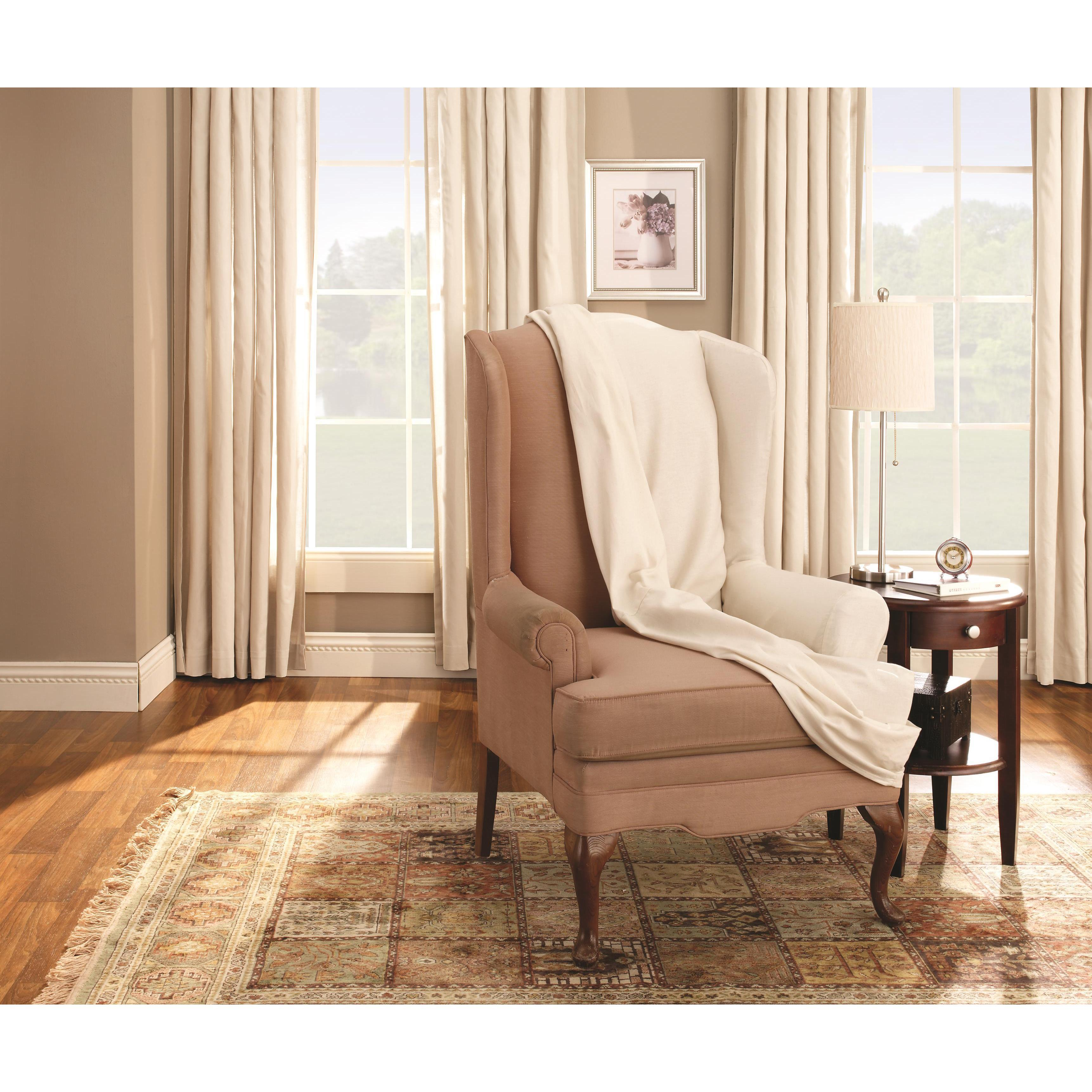 Captivating Sure Fit Neutral Cotton Duck Wing Chair Slipcover   Free Shipping Today    Overstock   10449470
