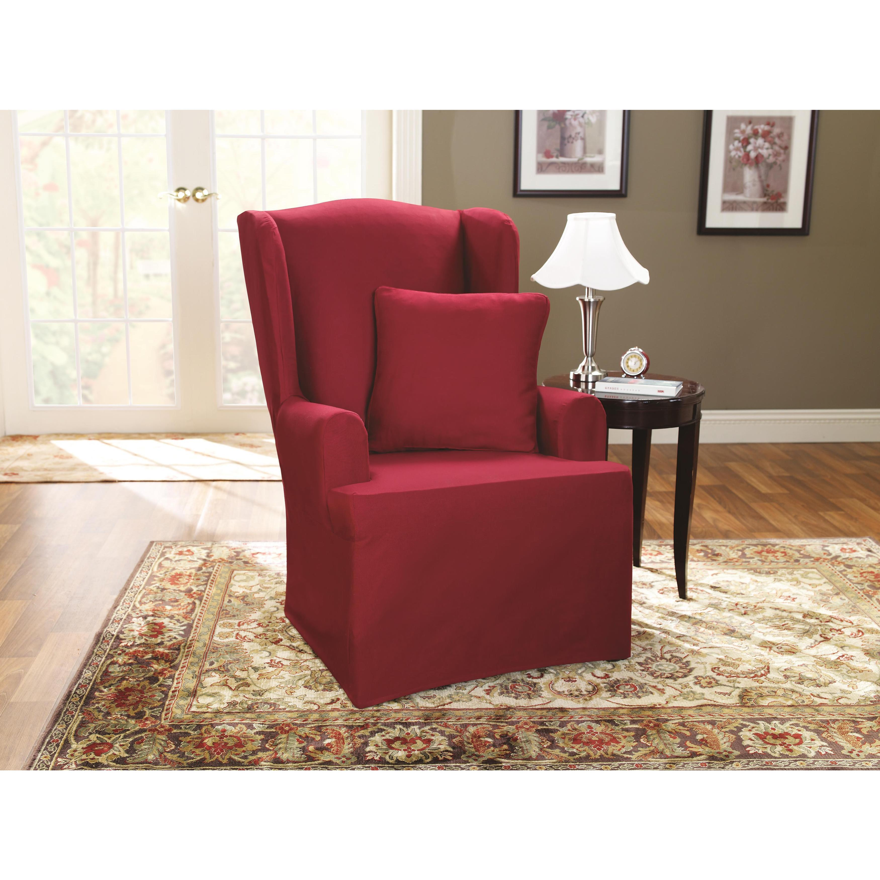 Beautiful Sure Fit Neutral Cotton Duck Wing Chair Slipcover   Free Shipping Today    Overstock   10449470