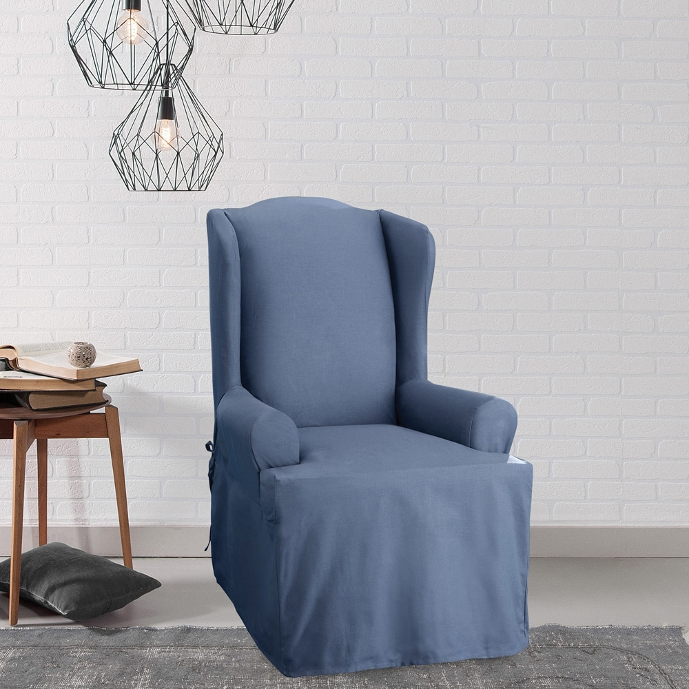 Charming Sure Fit Neutral Cotton Duck Wing Chair Slipcover   Free Shipping Today    Overstock   10449470