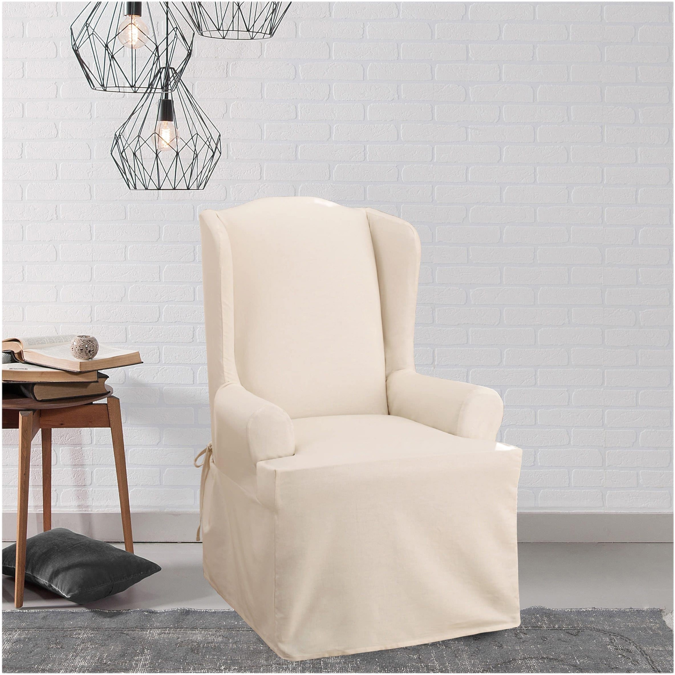 shop sure fit cotton duck wing chair slipcover free shipping today overstockcom 2177484 - Wing Chair Slipcover