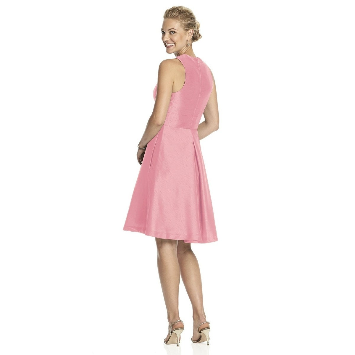 Alfred Sung Dupioni V-neck Inset Waistband Length Cocktail Dress ...
