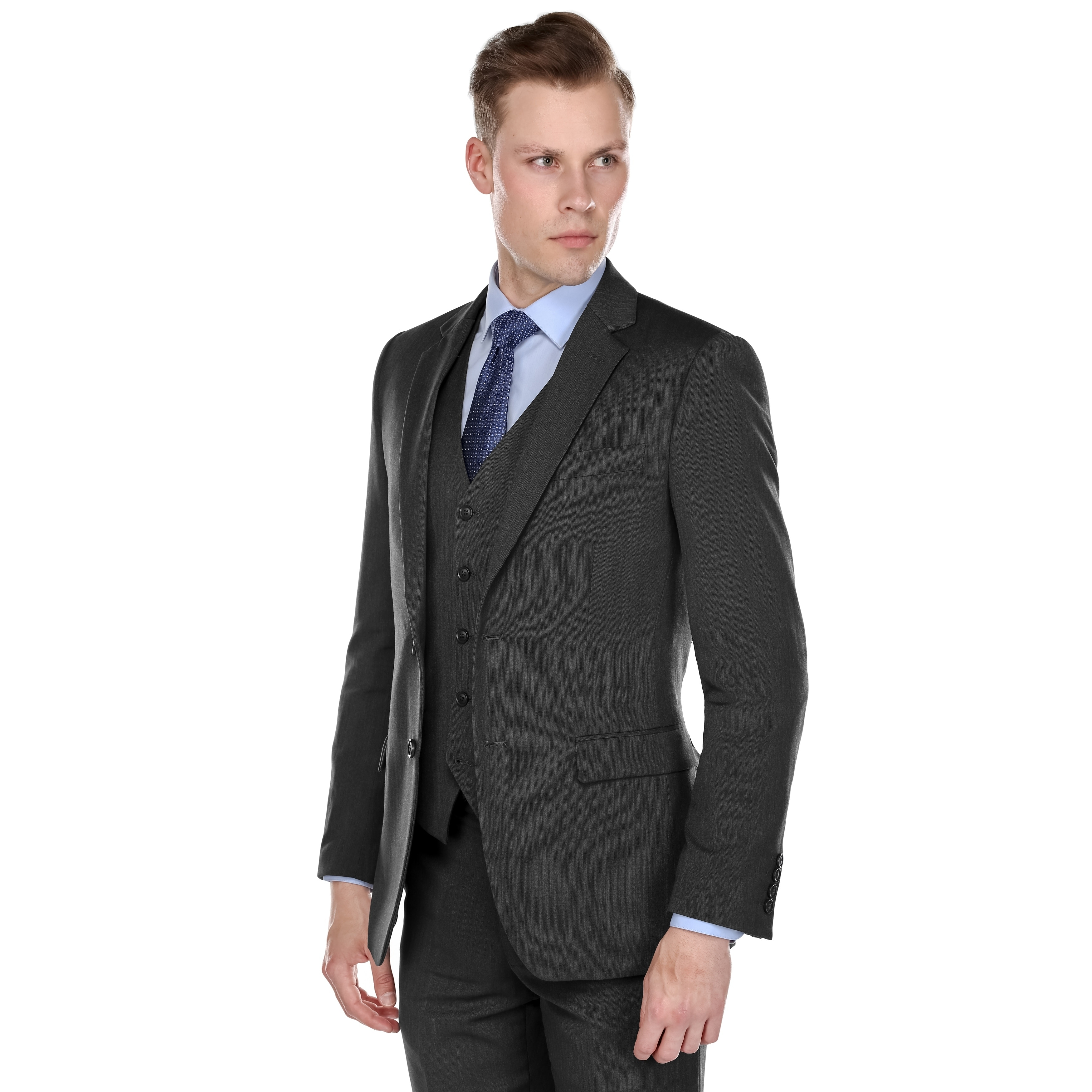 fdc3d420eb3 Shop Fino Uomo Men s Light Herringbone Classic fit 3pc Suits - On Sale - Free  Shipping Today - Overstock - 21794249