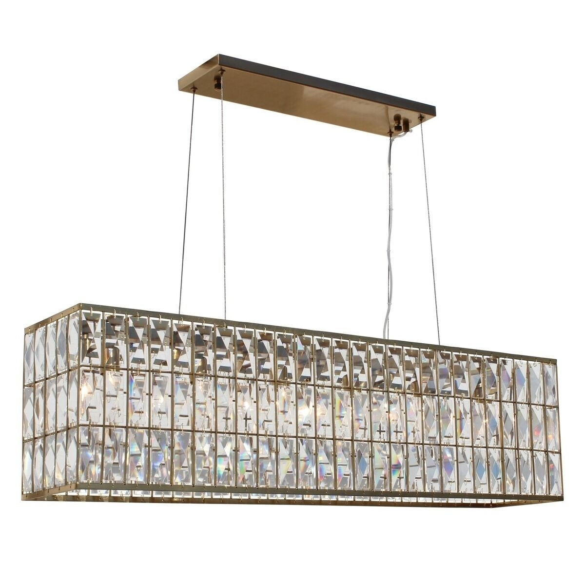 The monroe rectangular clear crystal chandelier brass finish n a