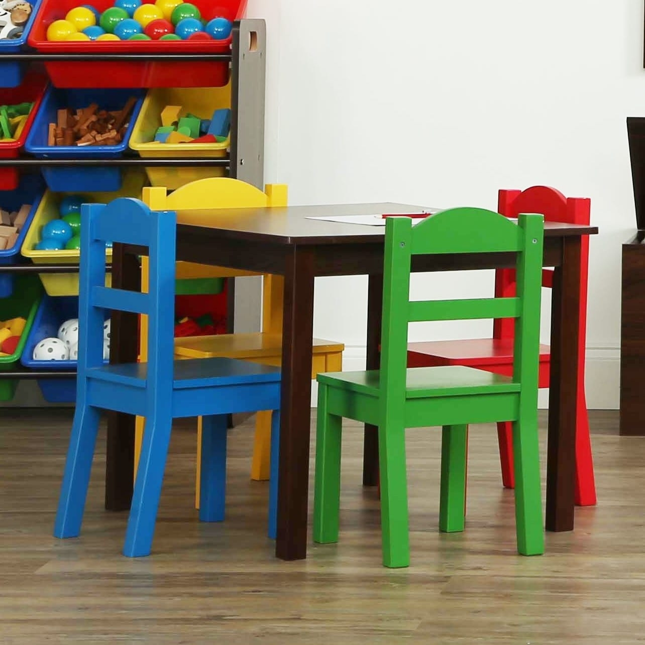 3e0de320166d1 Shop Discover 5-Piece Wood Kids Table   Chairs Set in Dark Walnut Primary - Free  Shipping Today - Overstock - 21801806