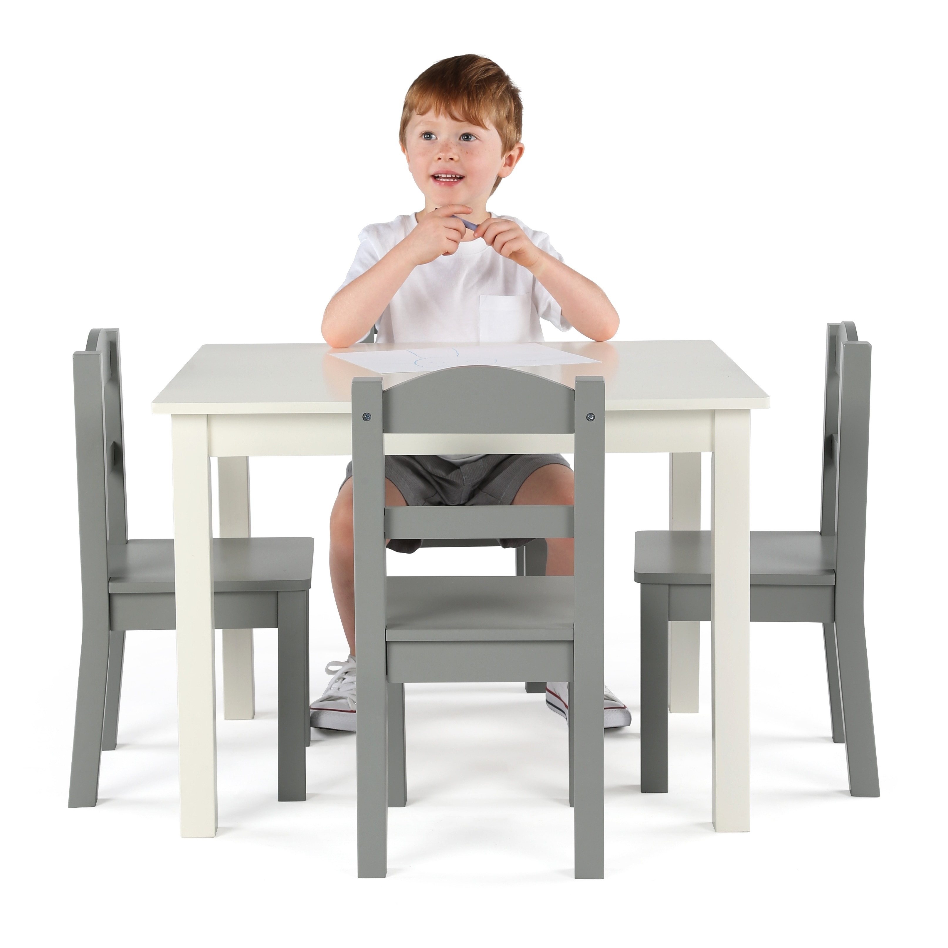 ba9fe20b3b5 Shop Springfield 5-Piece Wood Kids Table   Chairs Set in White Grey - Free  Shipping Today - Overstock - 21801852