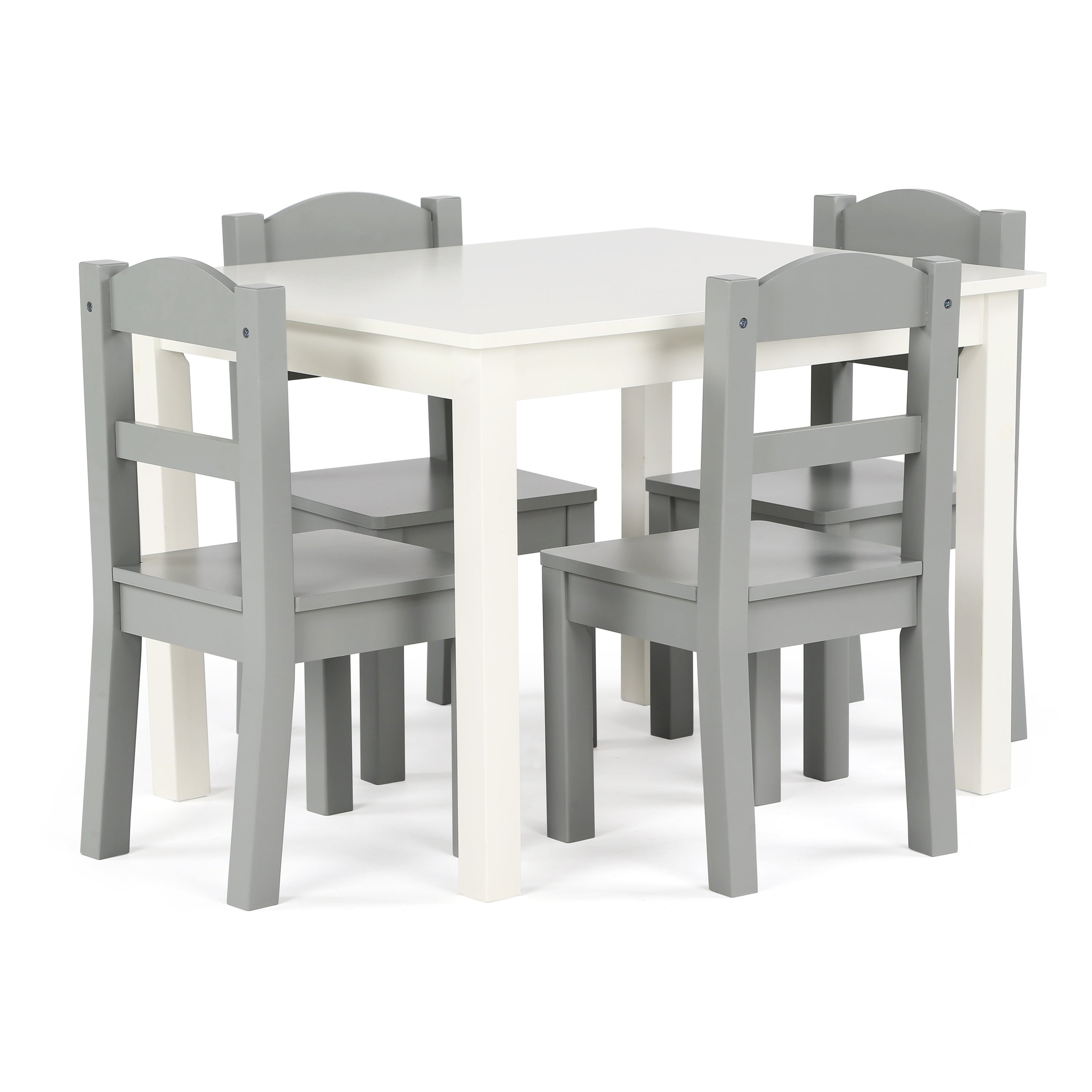 Springfield 5 Piece Wood Kids Table Chairs Set In White Grey