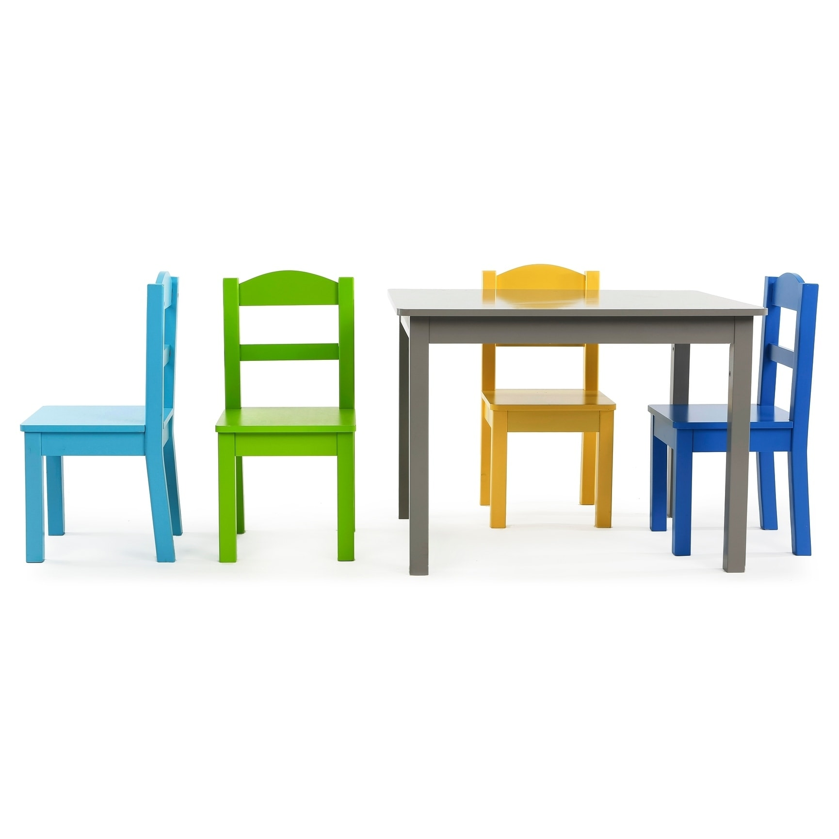 2d55274503fe7 Shop Elements 5-Piece Wood Kids Table   Chairs Set in Grey Multi - Free  Shipping Today - Overstock - 21801860