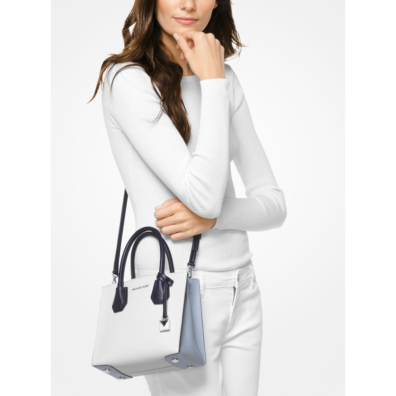 f3d736a82456 Shop MICHAEL Michael Kors Mercer Color-Block Leather Crossbody White Multi  Opt/Pilbl/Adm - On Sale - Free Shipping Today - Overstock - 21802076