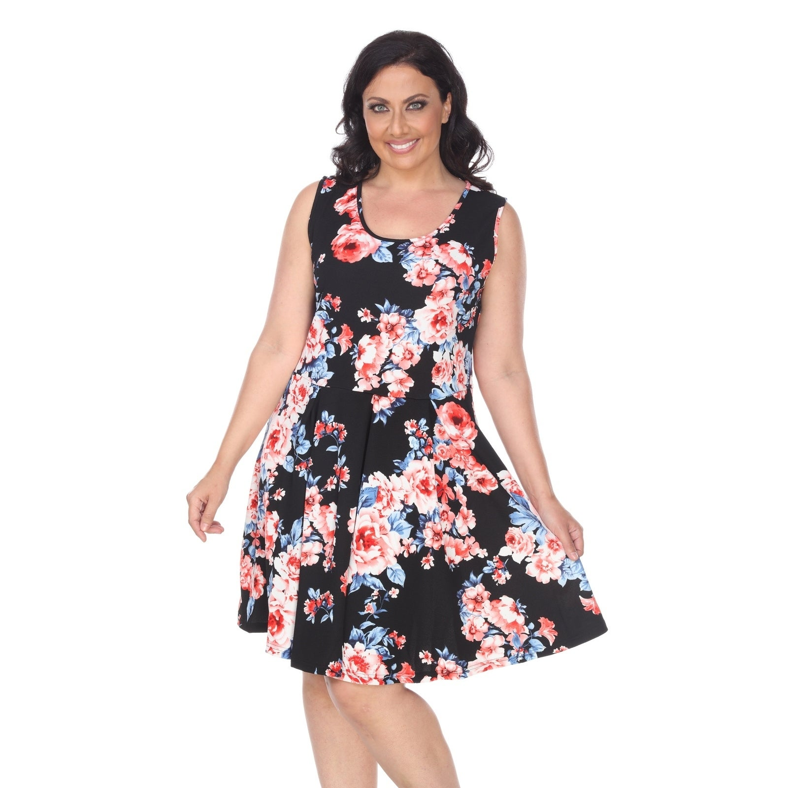 a8cff406af6 Shop White Mark Plus Flower Print 'Crystal' Dress - Free Shipping On Orders  Over $45 - Overstock.com - 21803949