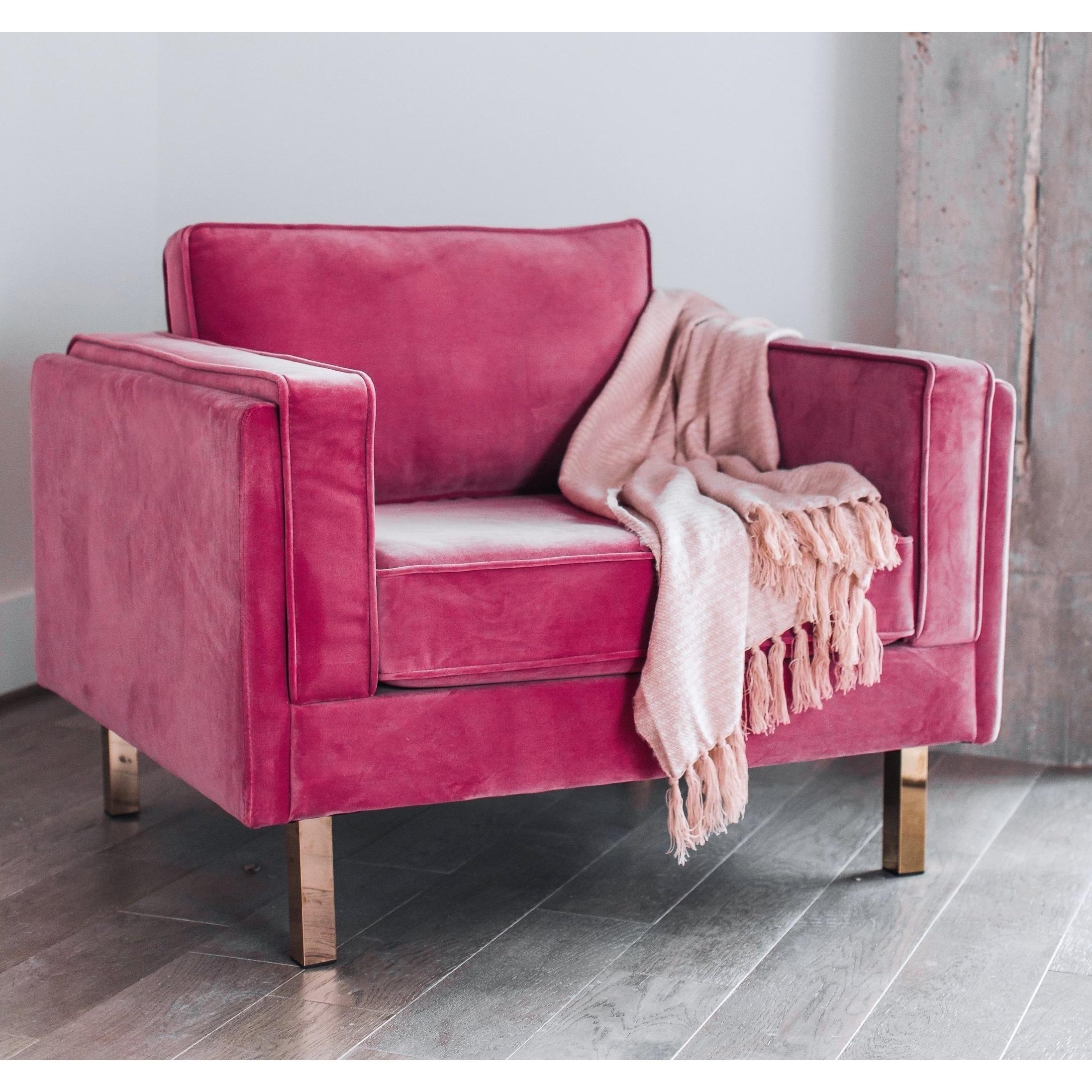 Kinsley modern pink velvet upholstered living room accent chair