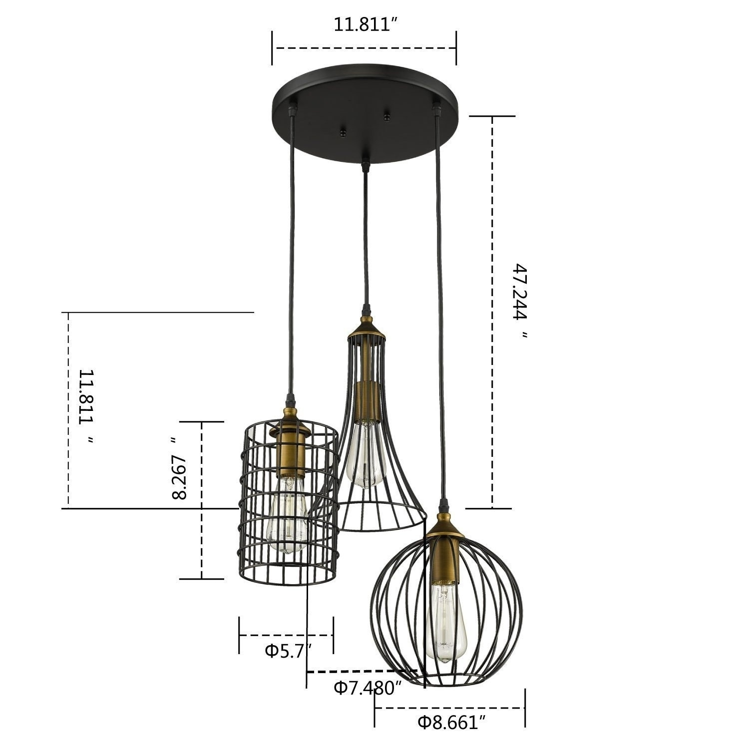 Shop Antique 3 Lights Oil Rubbed Bronze Chandelier With Wire Cage Electrical Wiring Light Fixture Free Shipping Today 21827260