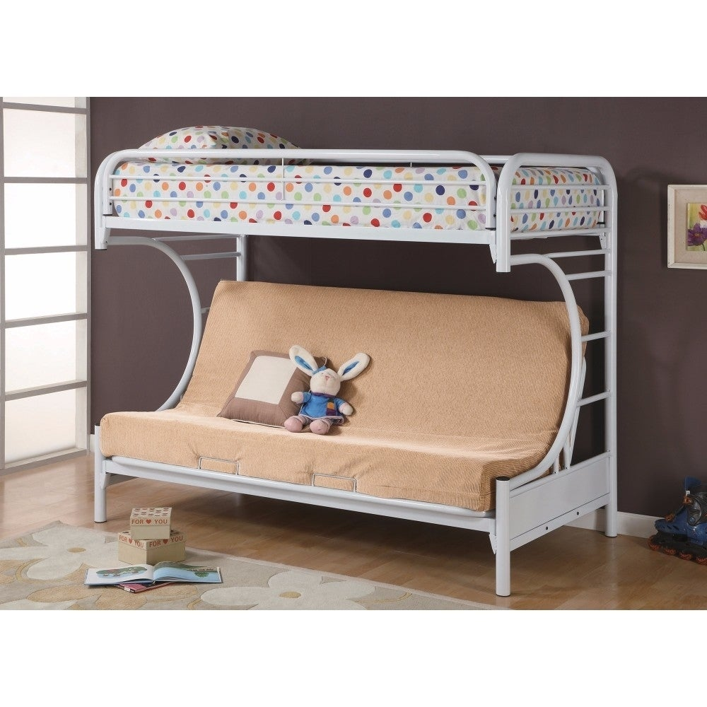 Shop contemporary style twin over futon bunk bed white free shipping today overstock com 21836522