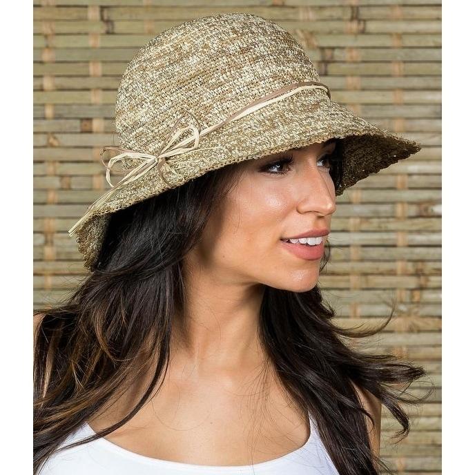 92bbb1eb Shop Hatch BAJA Sun Summer Raffia Straw Women's Wide Brim Floppy Hat - Free  Shipping On Orders Over $45 - Overstock - 21838405