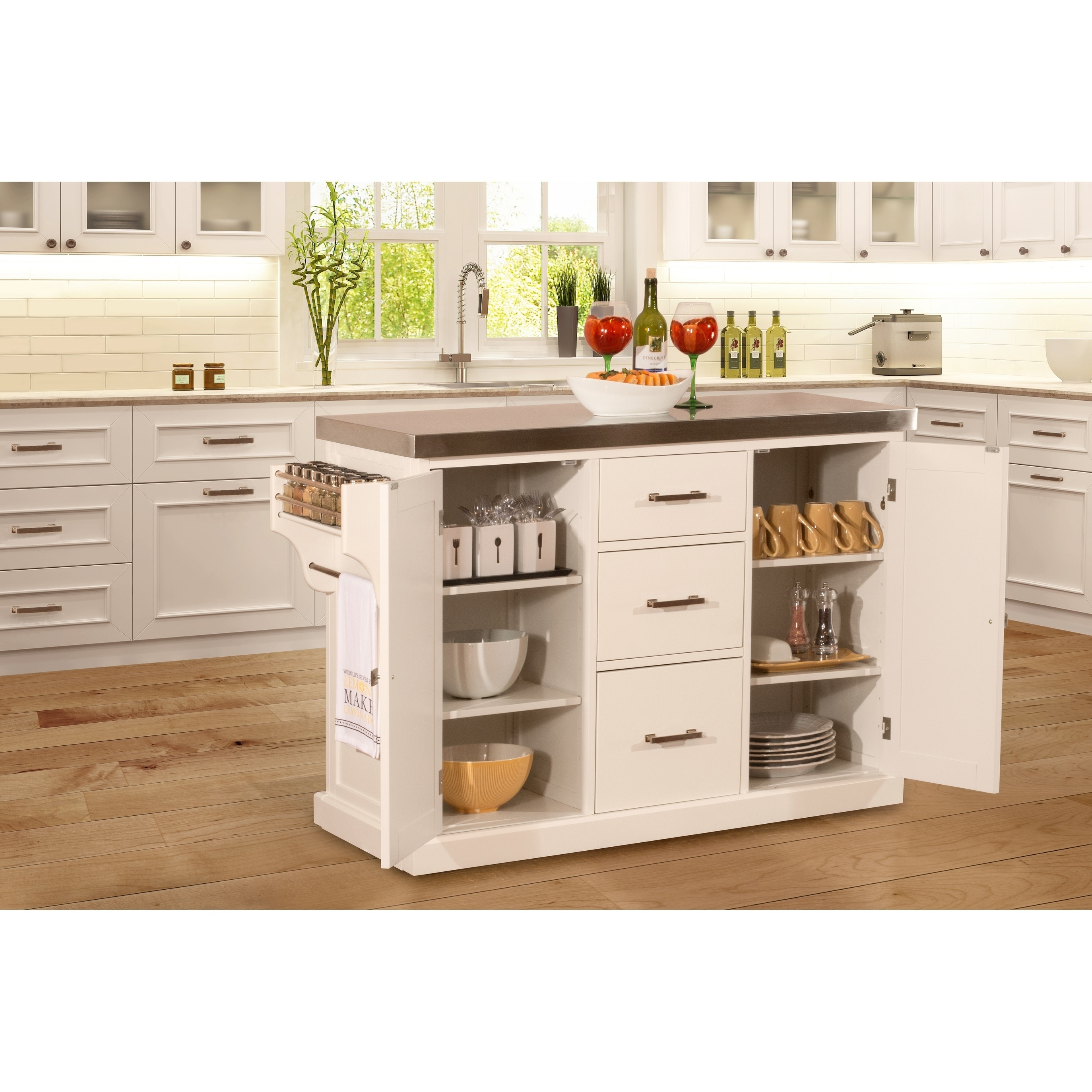 Hillsdale Brigham Kitchen Island in White with Stainless Steel Top ...