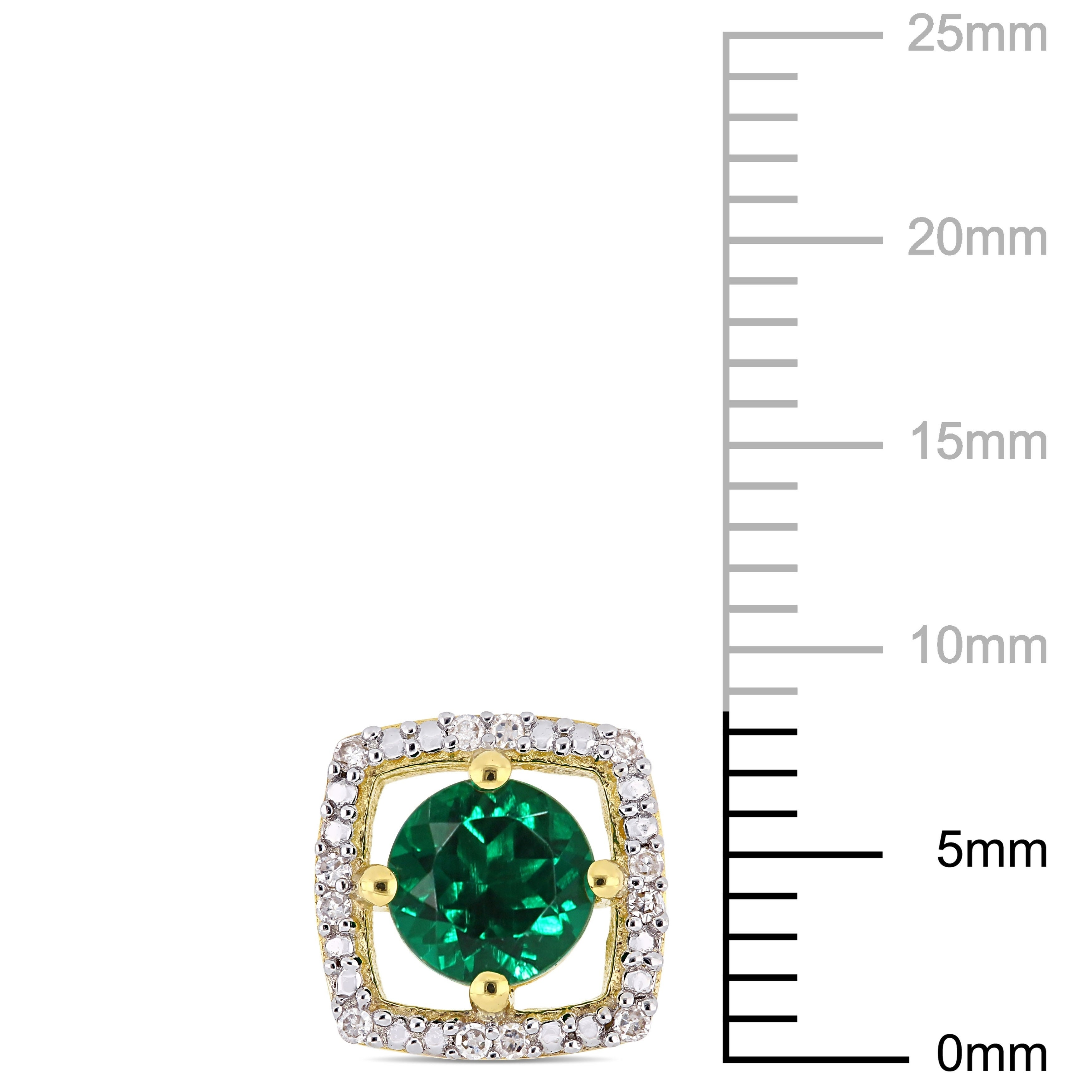 1ac72151f48cc Miadora 10k Yellow Gold Created Emerald and Diamond Accent Floating Square  Halo Stud Earrings