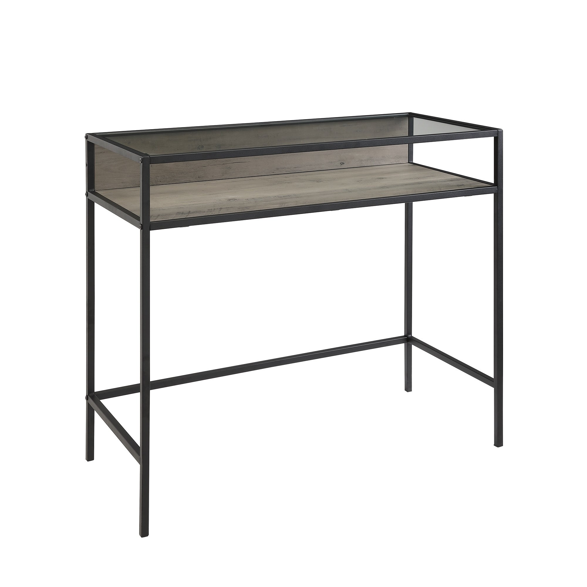 35 Inch Metal Wood Compact Desk With Smoke Glass