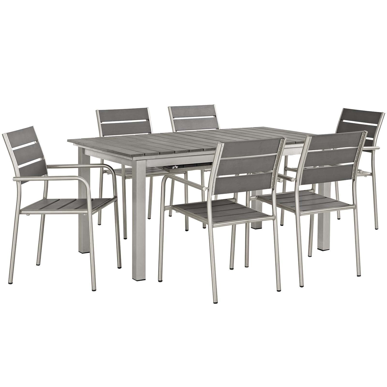 Shop Shore 7 Piece Outdoor Patio Aluminum Outdoor Dining Set On