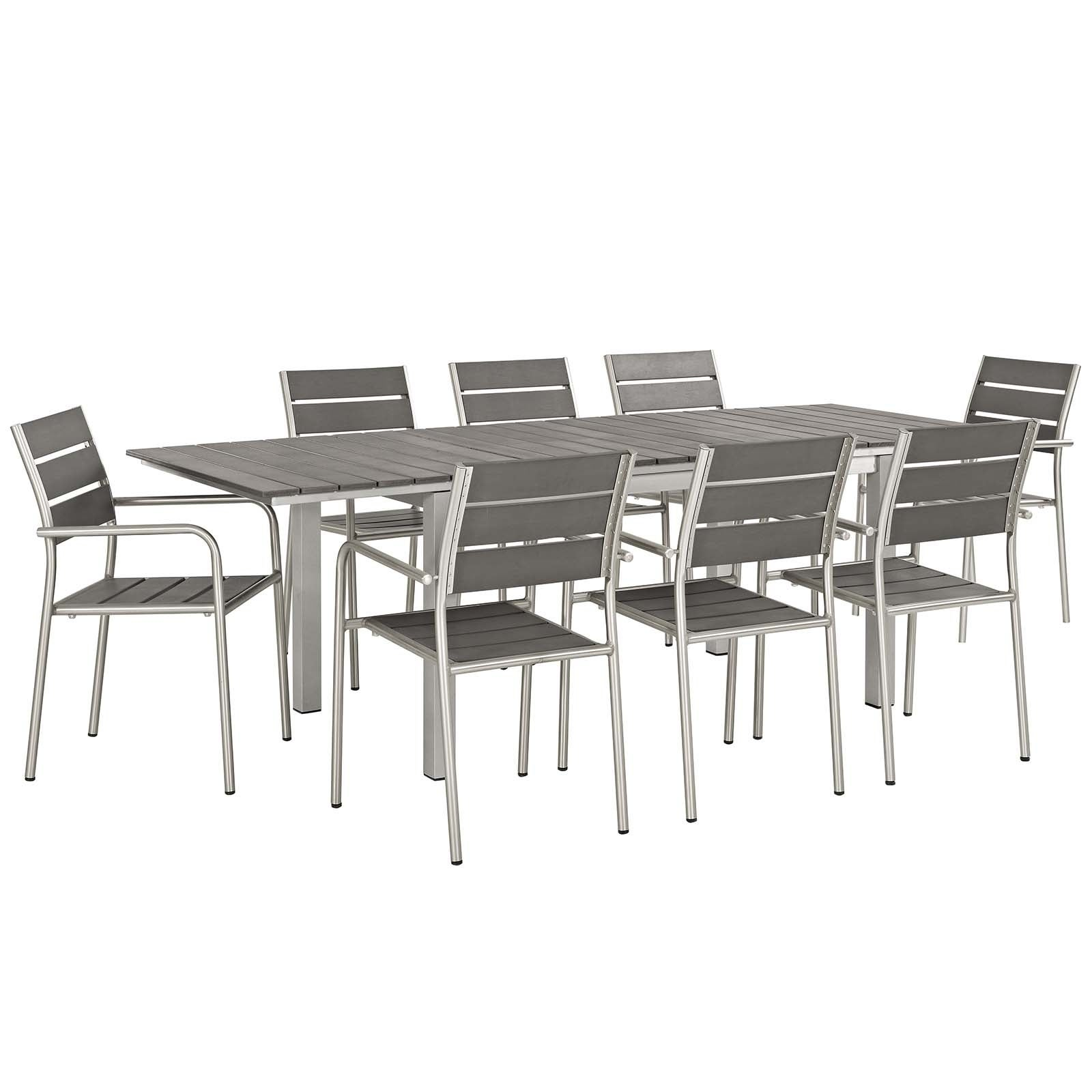 Shop Shore 9 Piece Outdoor Patio Aluminum Outdoor Dining Set On