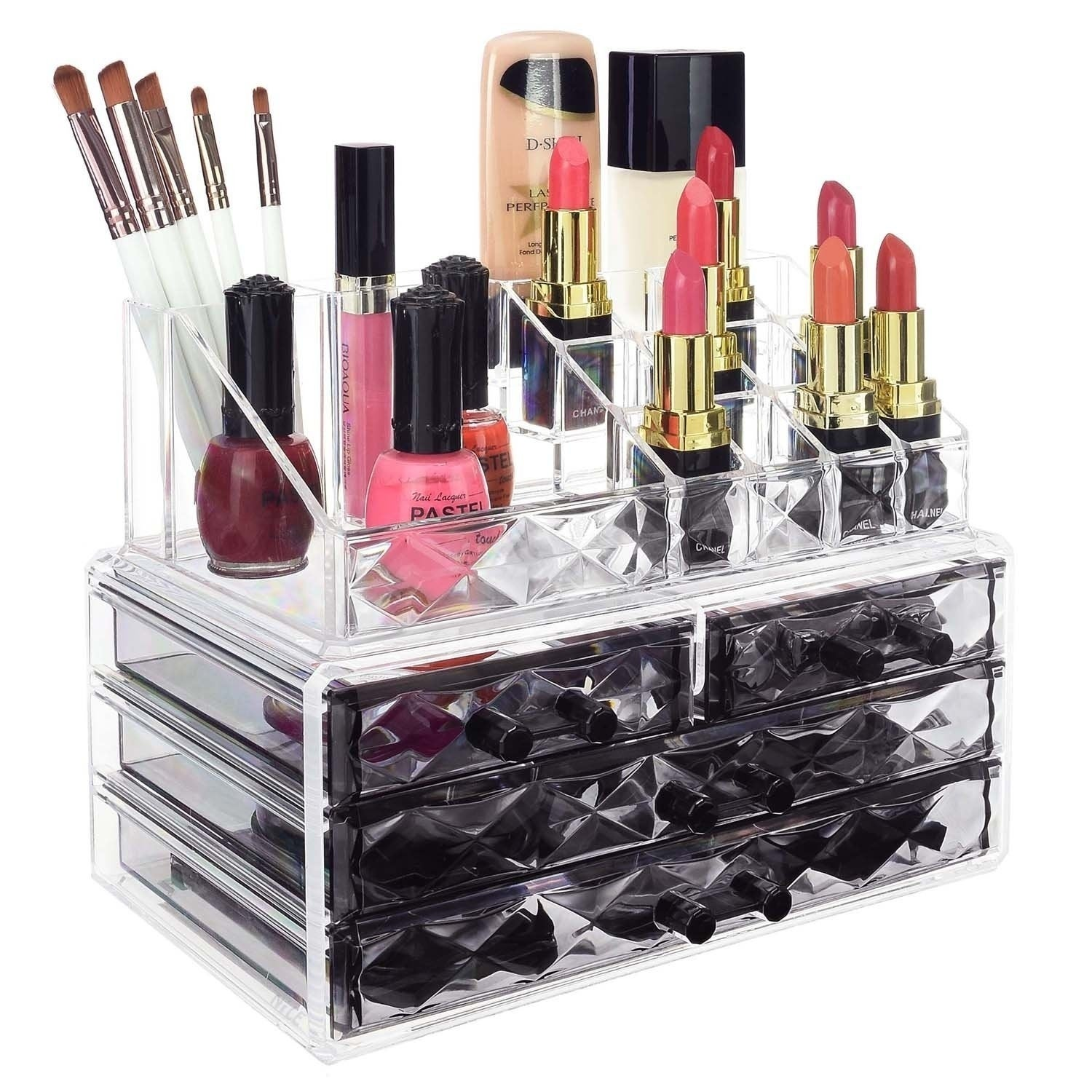 Ikee Design Jewelry And Makeup Organizer Two Pieces Set, Black