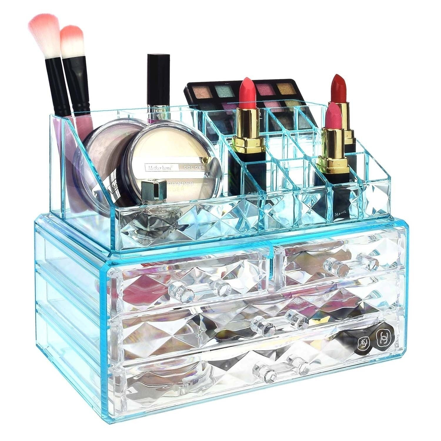 Ikee Design Jewelry And Makeup Organizer Two Pieces Set, Blue