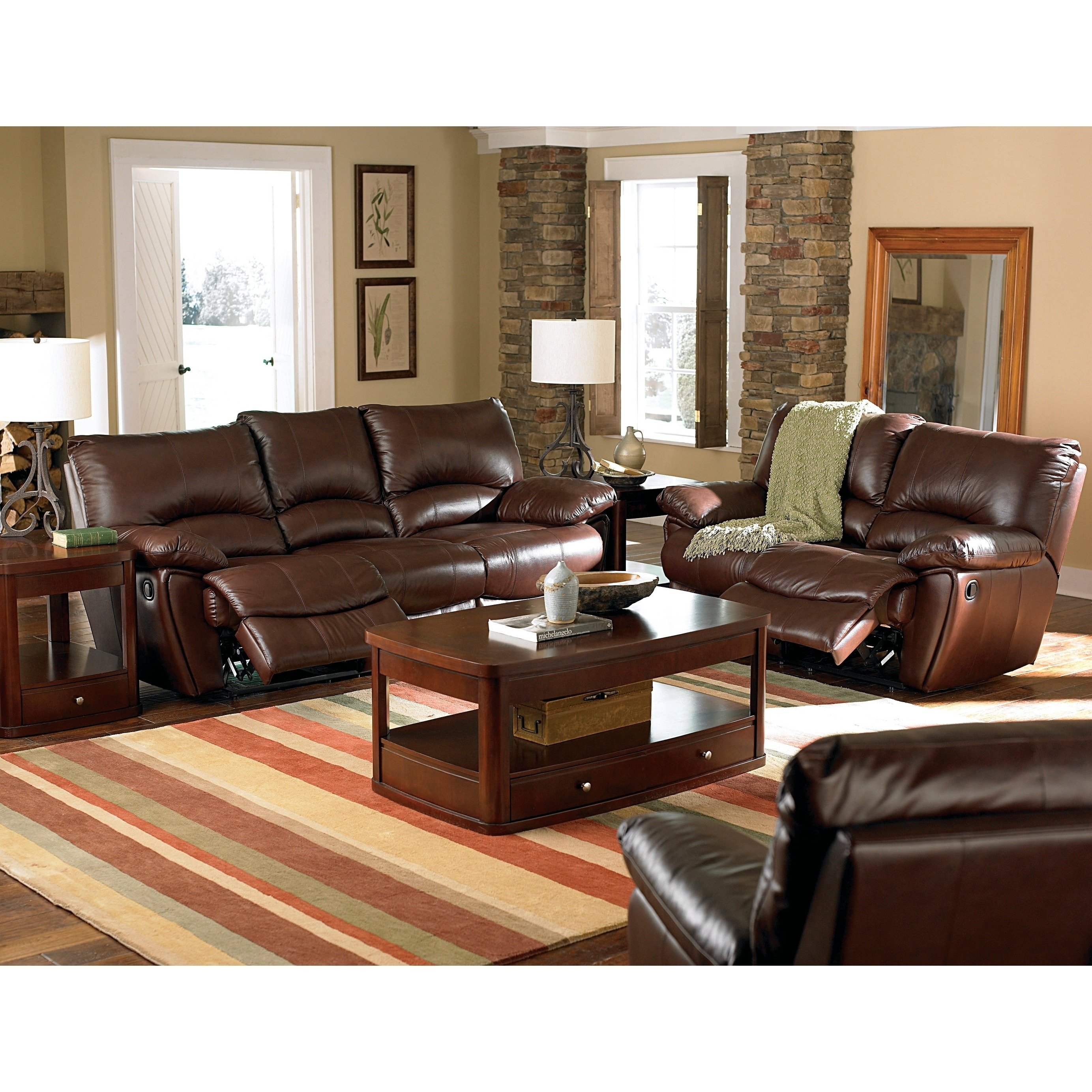 Shop clifford dark brown 2 piece motion reclining living room set on sale free shipping today overstock 21862571