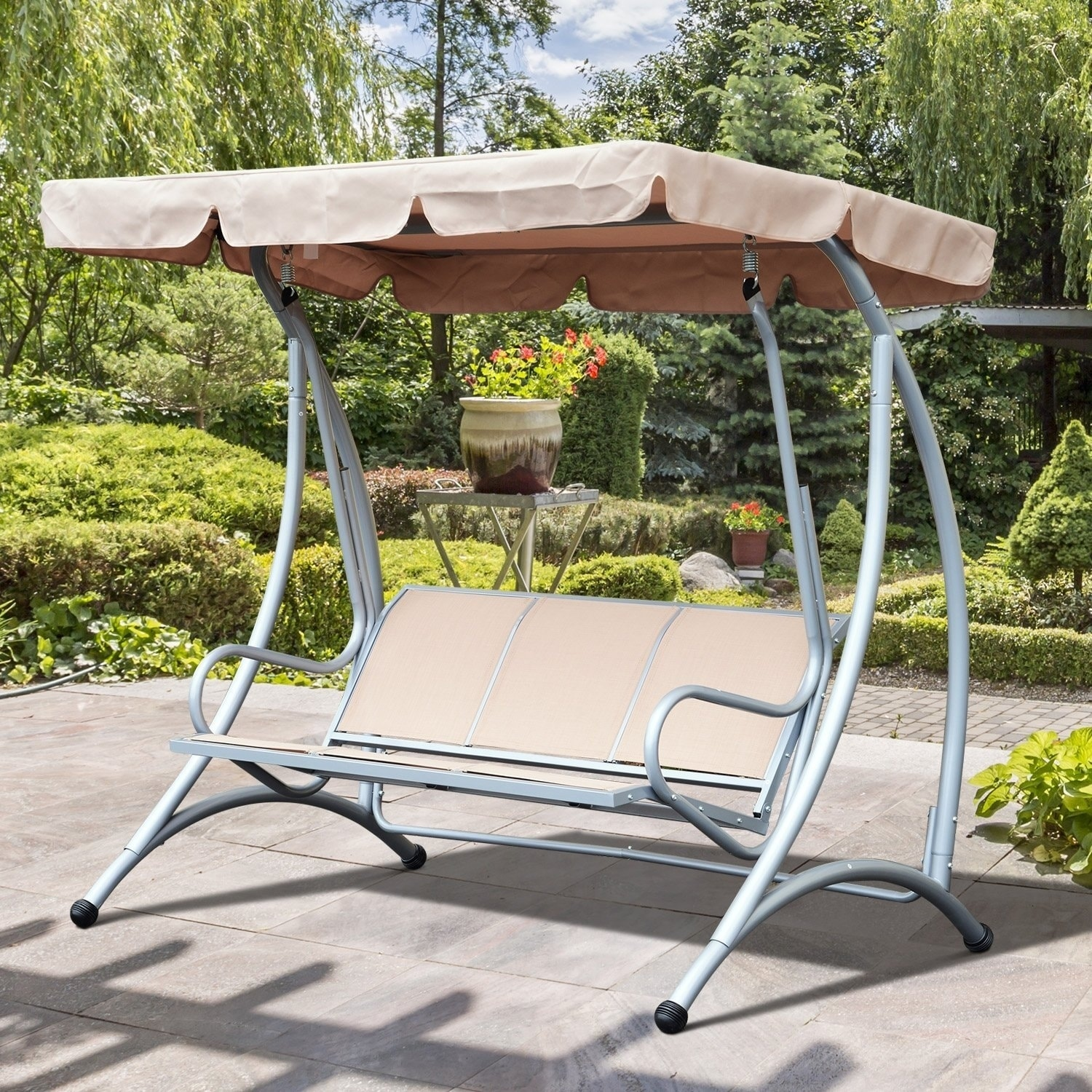 Outsunny 3 Person Steel Outdoor Patio Swing Chair With Canopy Beige Free Shipping Today 21869583