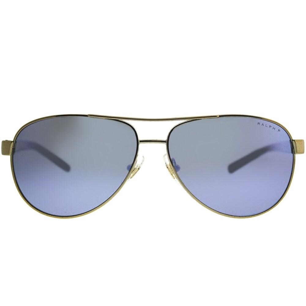 7991785dbfdc Shop Ralph by Ralph Lauren Aviator RA 4004 911622 Unisex Light Gold Frame  Blue Mirror Polarized Lens Sunglasses - Free Shipping Today - Overstock -  21872041