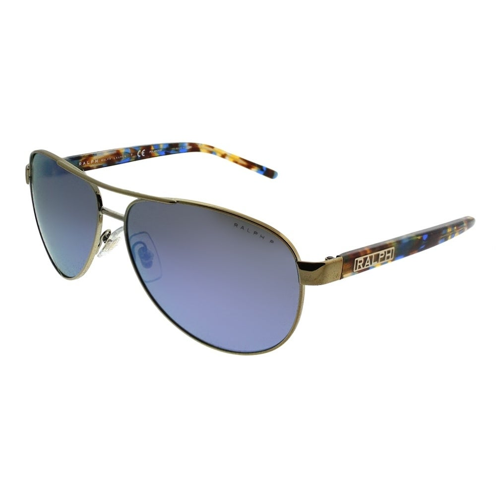 d55e7d07ad9f Ralph by Ralph Lauren Aviator RA 4004 911622 Unisex Light Gold Frame Blue  Mirror Polarized Lens Sunglasses