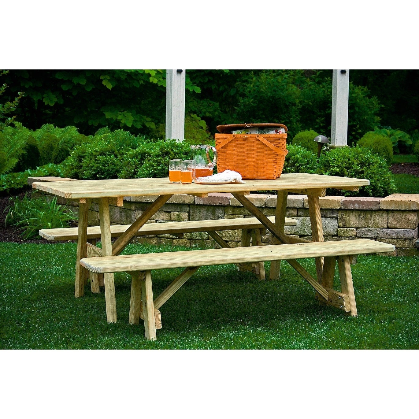 Pressure Treated Pine 4 X 6 Picnic Table With 2 Traditional Benches