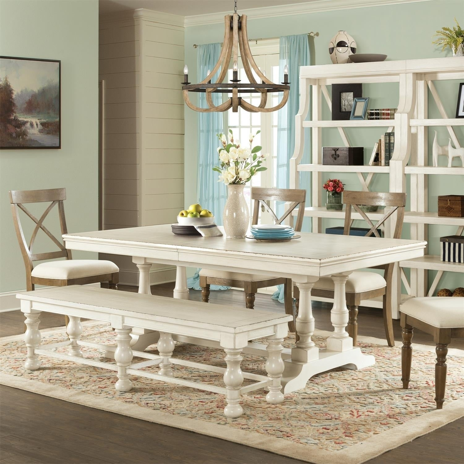 Aberdeen 80 In Rectangular Dining Table Base Only Weathered Worn White Free Shipping Today 21891638
