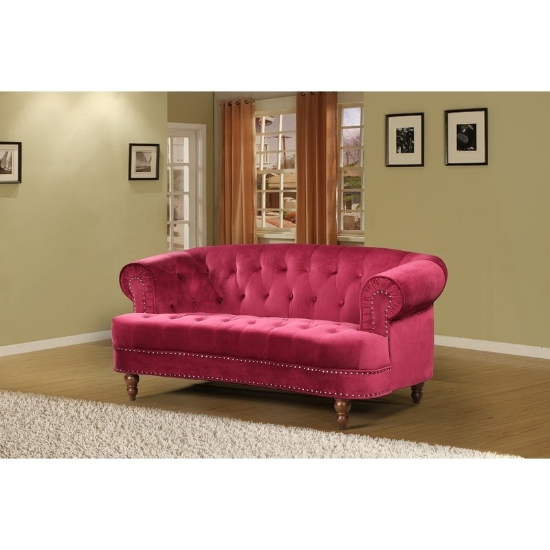 Shop Holder Nailhead Rolled Arms Velvet Chesterfield Sofa Free