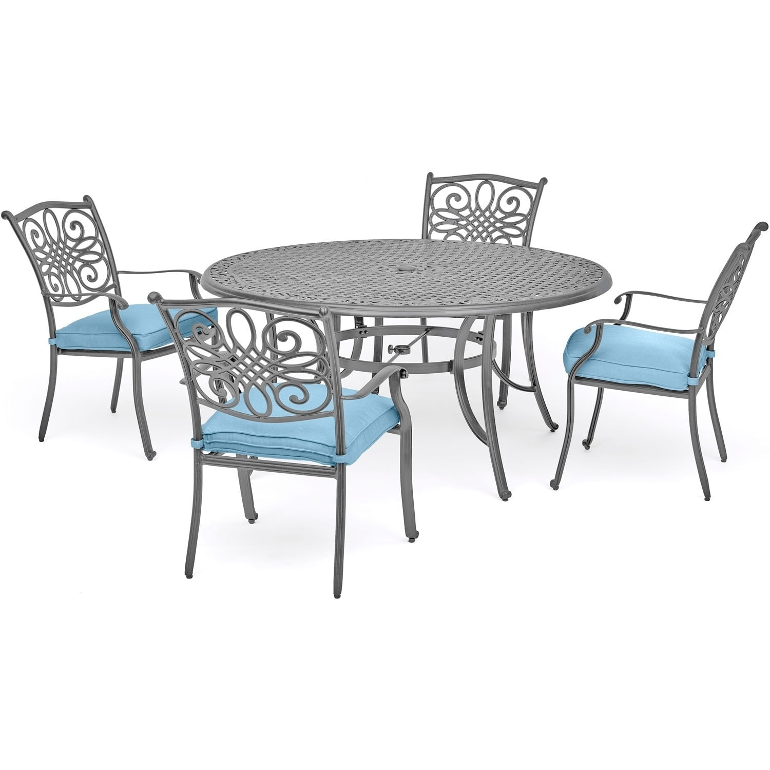 Shop hanover traditions 5 piece dining set in blue with 4 chairs and a 48 round table in a gray finish free shipping today overstock com 21892014